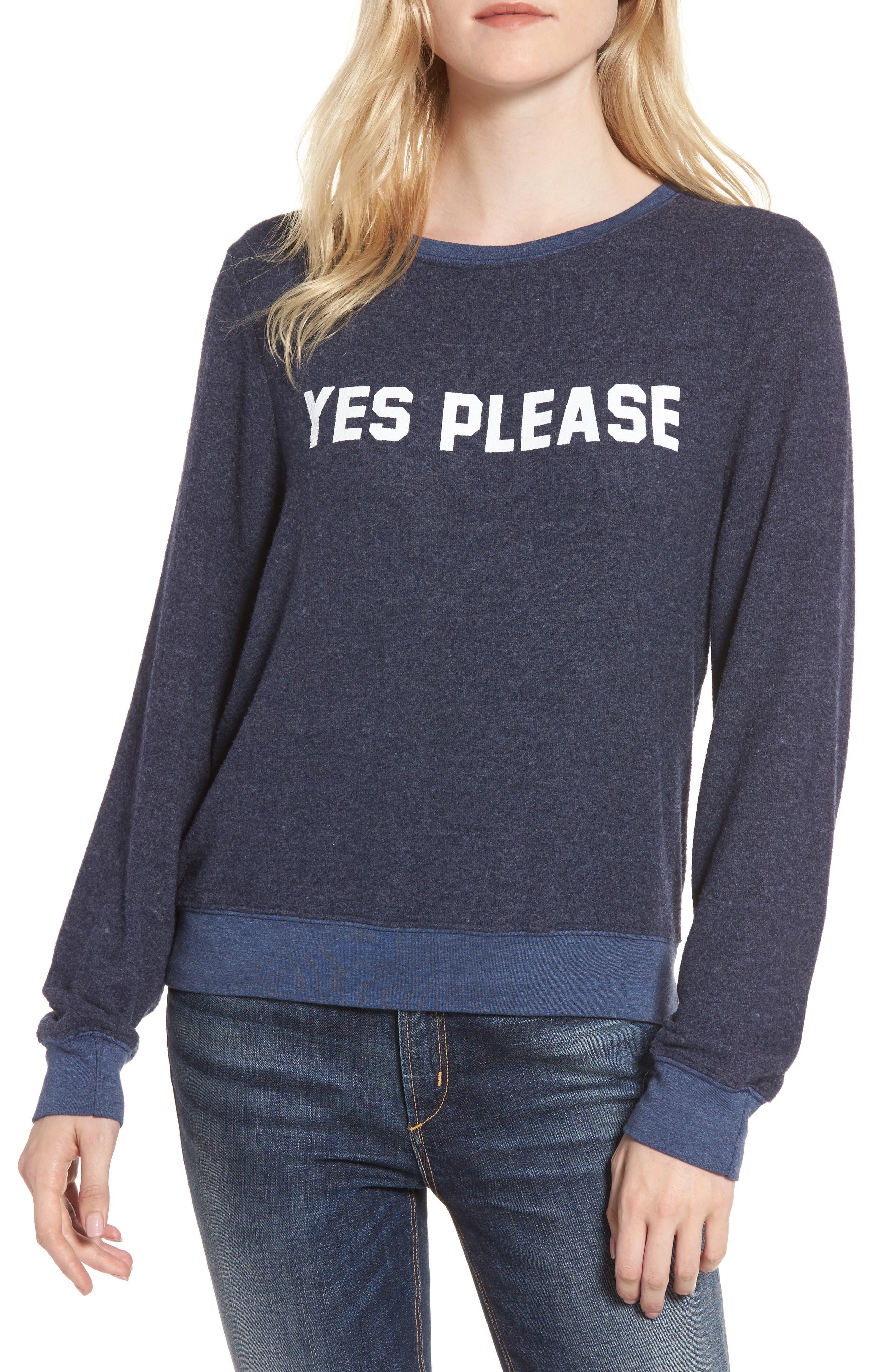 Yes, Please Sweatshirt,                         Main,                         color, Dark Blue