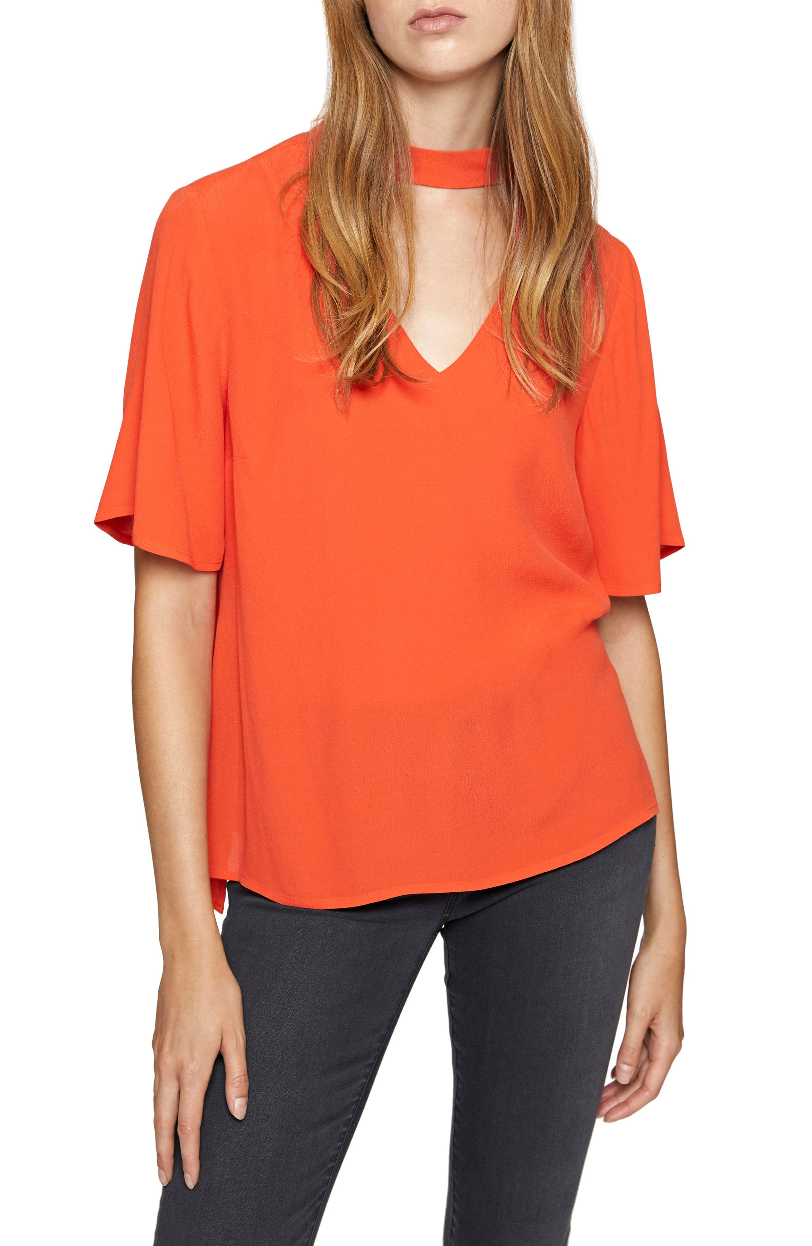 Rosie Choker Tee,                             Main thumbnail 1, color,                             Orange Lacquer