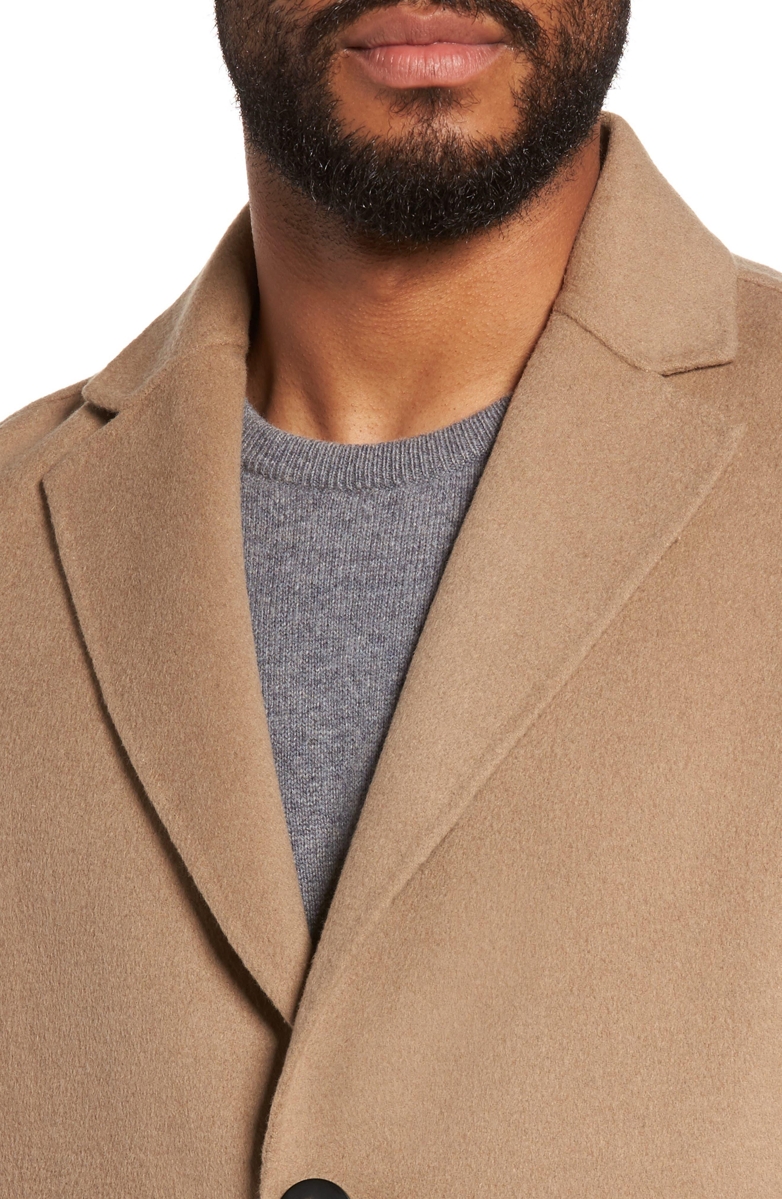 Wool Blend Topcoat,                             Alternate thumbnail 4, color,                             Camel