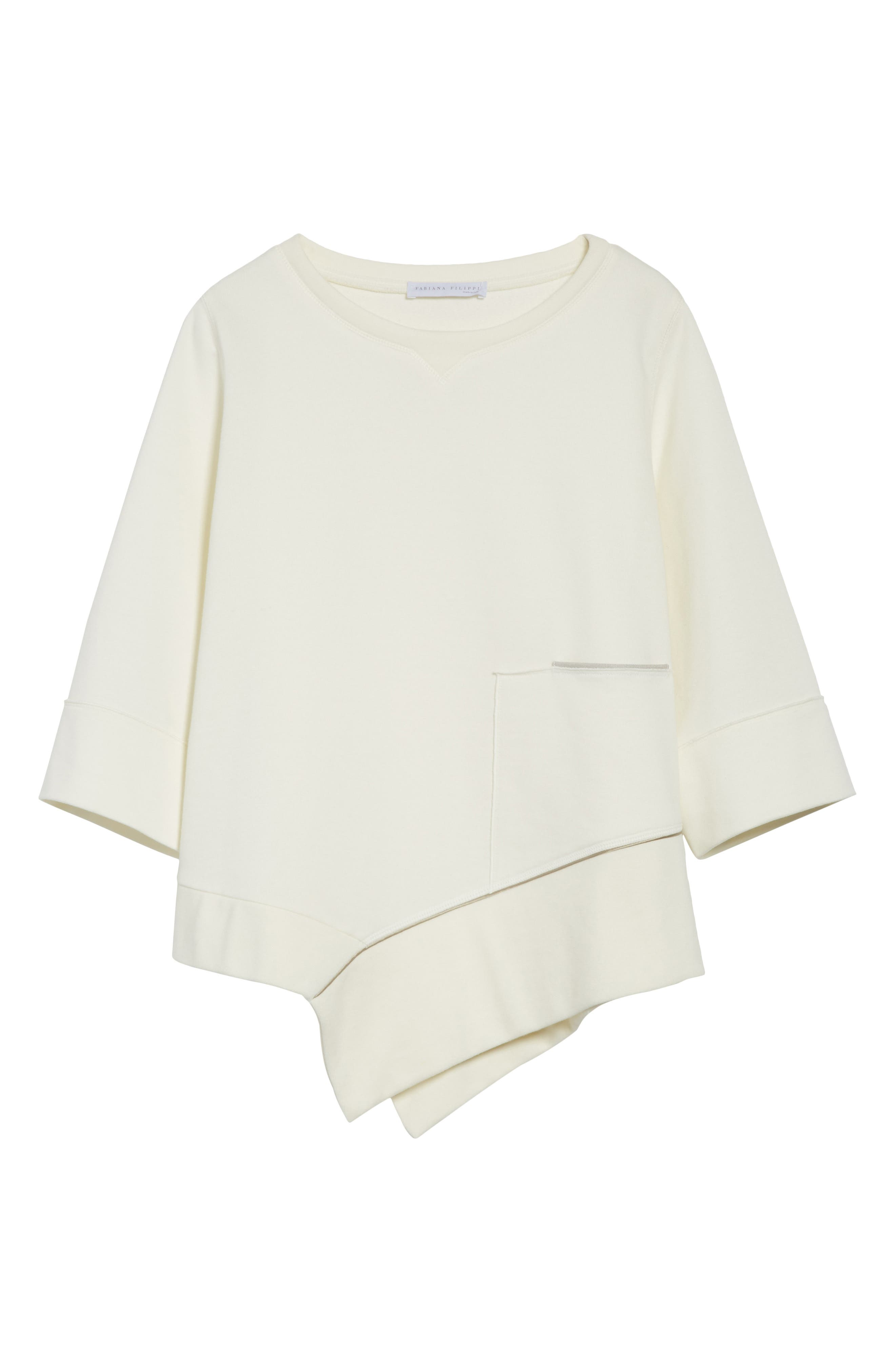 Asymmetrical Cotton Sweatshirt,                             Alternate thumbnail 7, color,                             Ivory