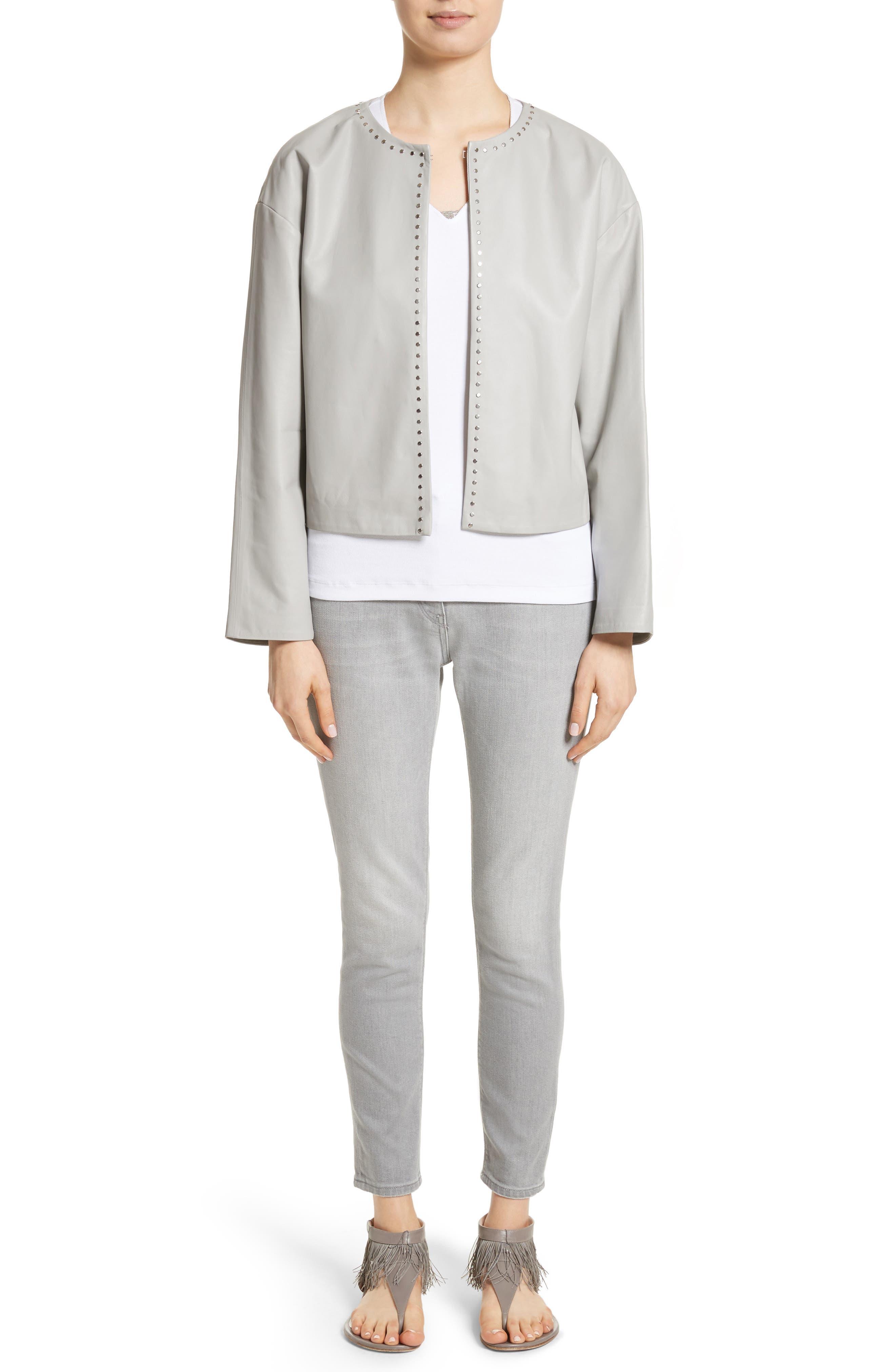 Studded Nappa Leather Jacket,                             Alternate thumbnail 7, color,                             Grey