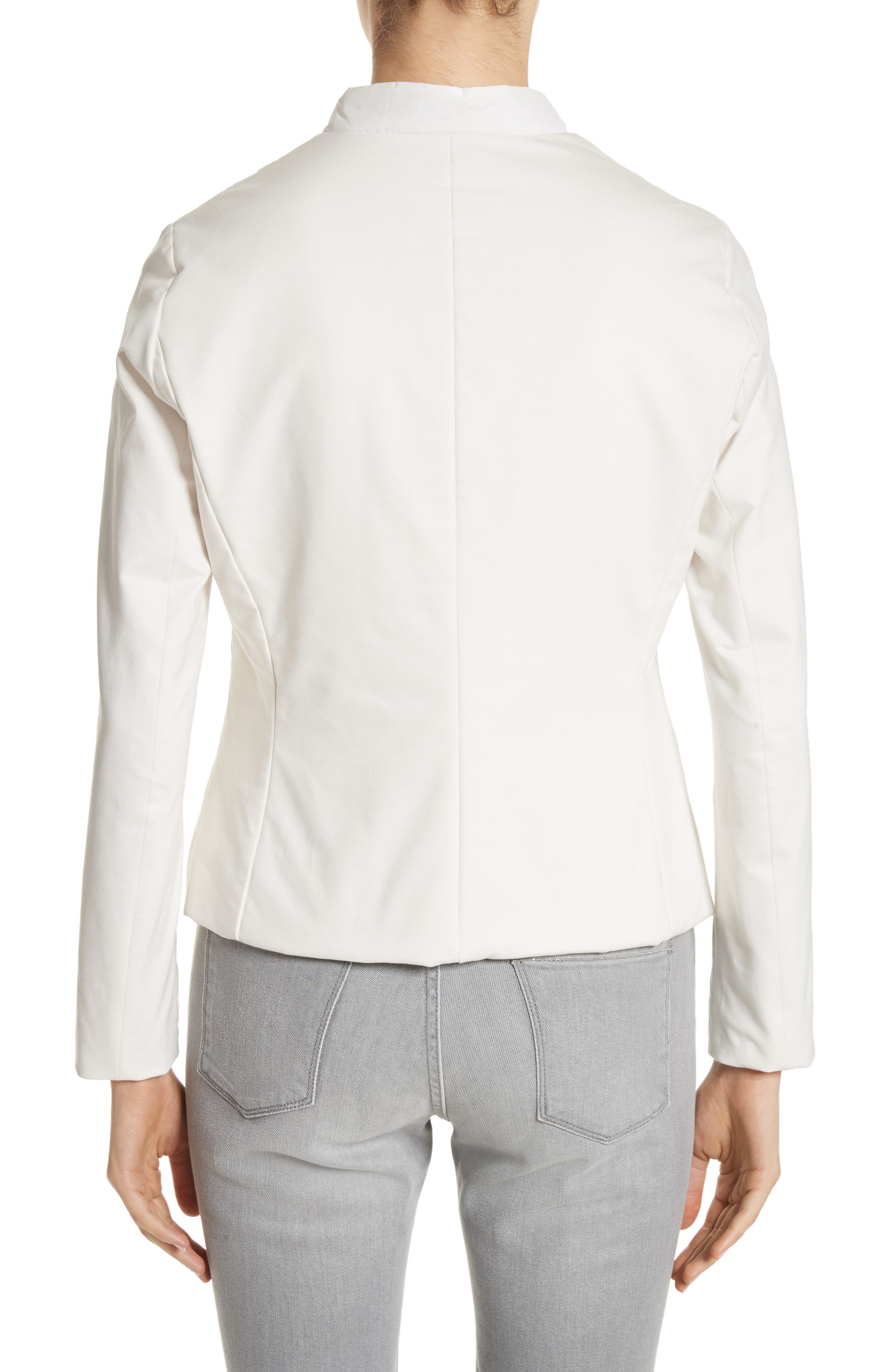 Rodier Jersey Puffer Front Jacket,                             Alternate thumbnail 2, color,                             Pure White
