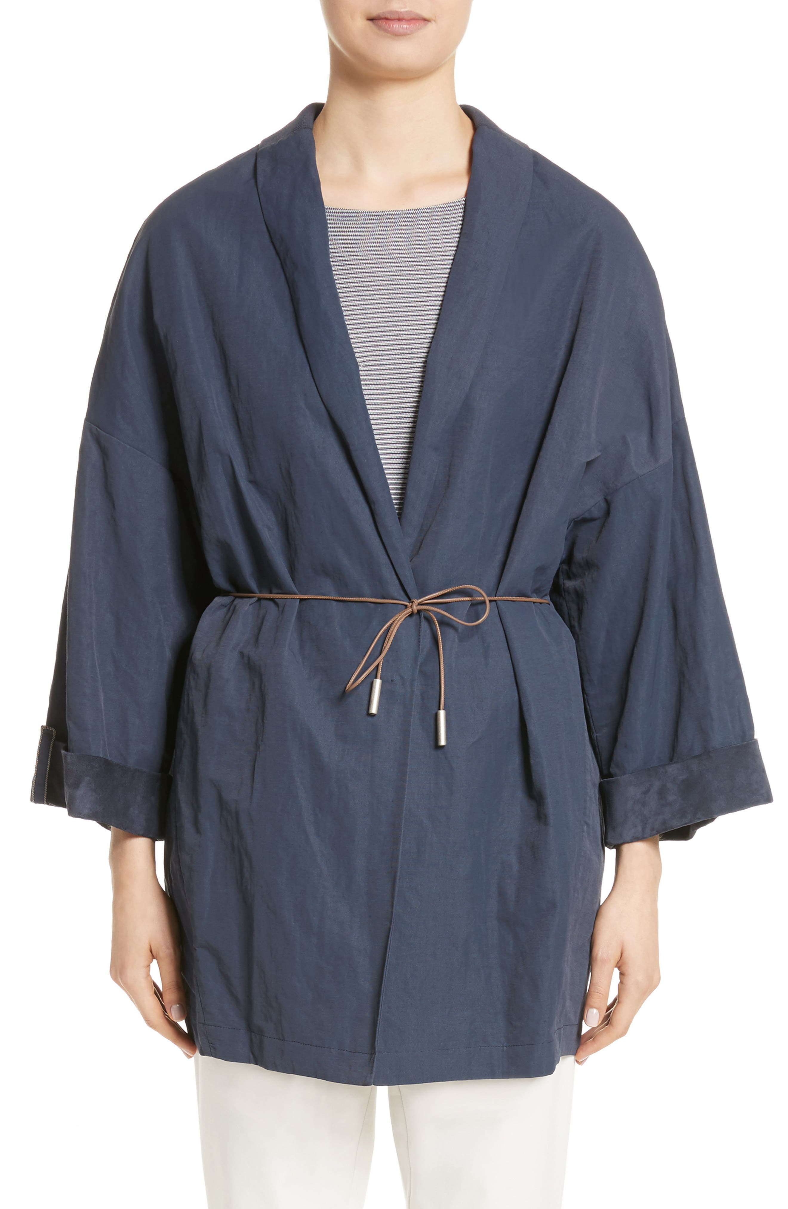 Suede & Cotton Blend Kimono Jacket,                             Main thumbnail 1, color,                             Navy