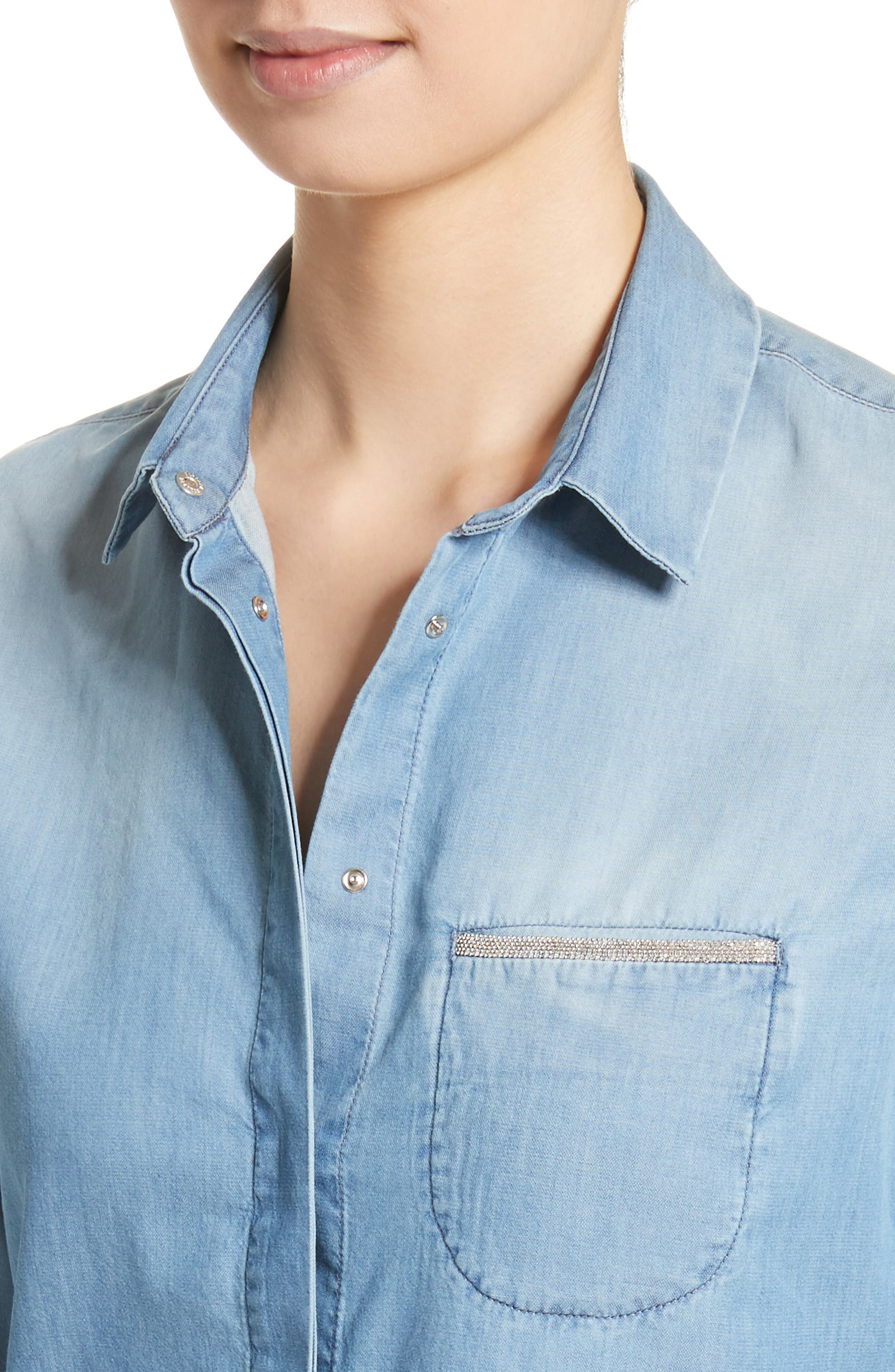 Cotton & Cashmere Chambray Blouse,                             Alternate thumbnail 4, color,                             Denim Blue