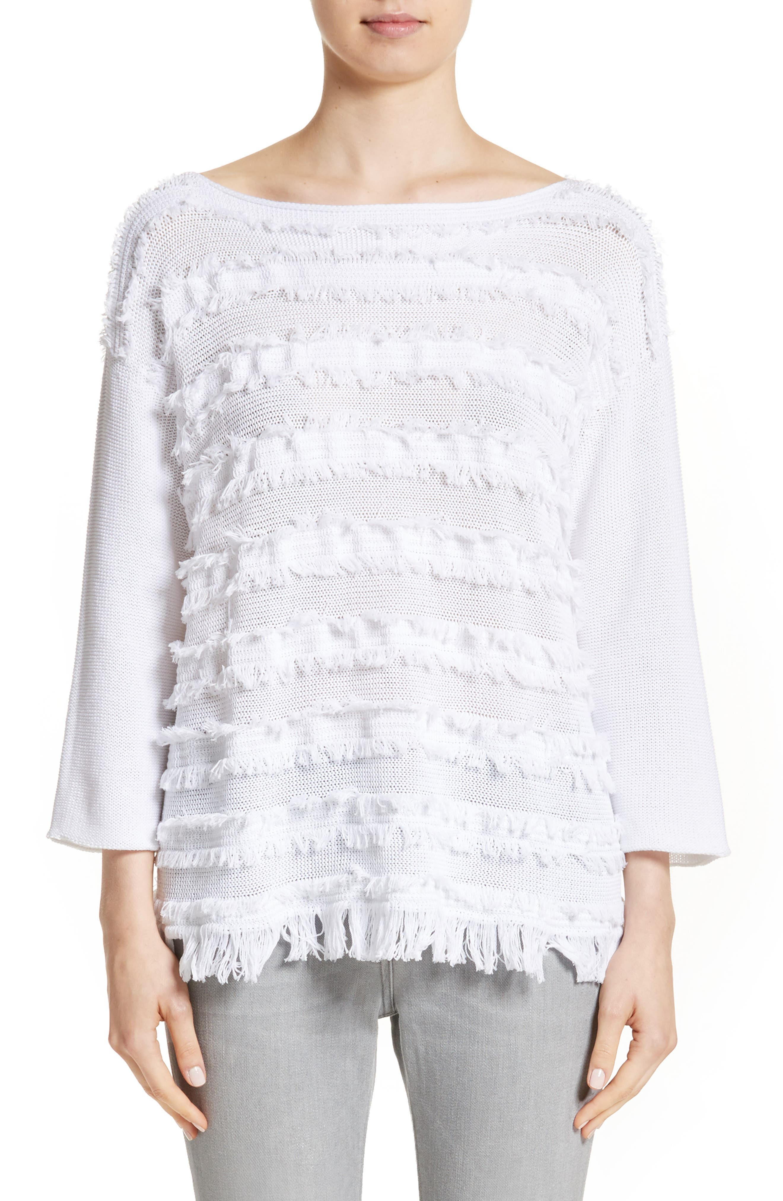 Fringe Knit Sweater,                         Main,                         color, White