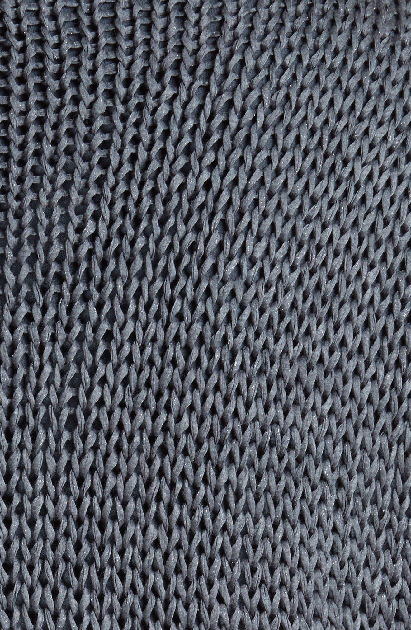 Knit Overlay Stretch Silk Dress,                             Alternate thumbnail 6, color,                             Slate