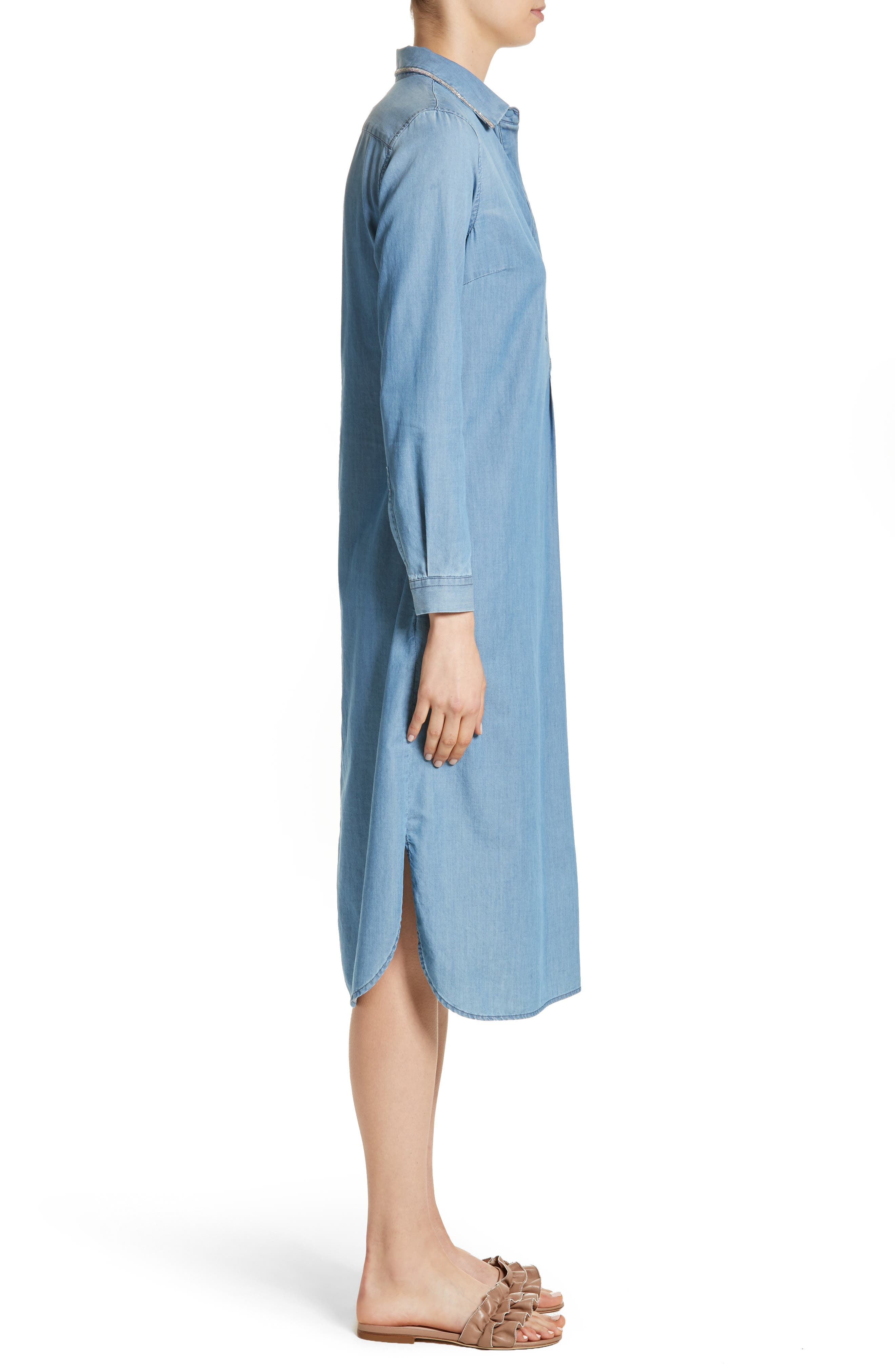Cotton & Cashmere Chambray Shirtdress,                             Alternate thumbnail 3, color,                             Denim Blue