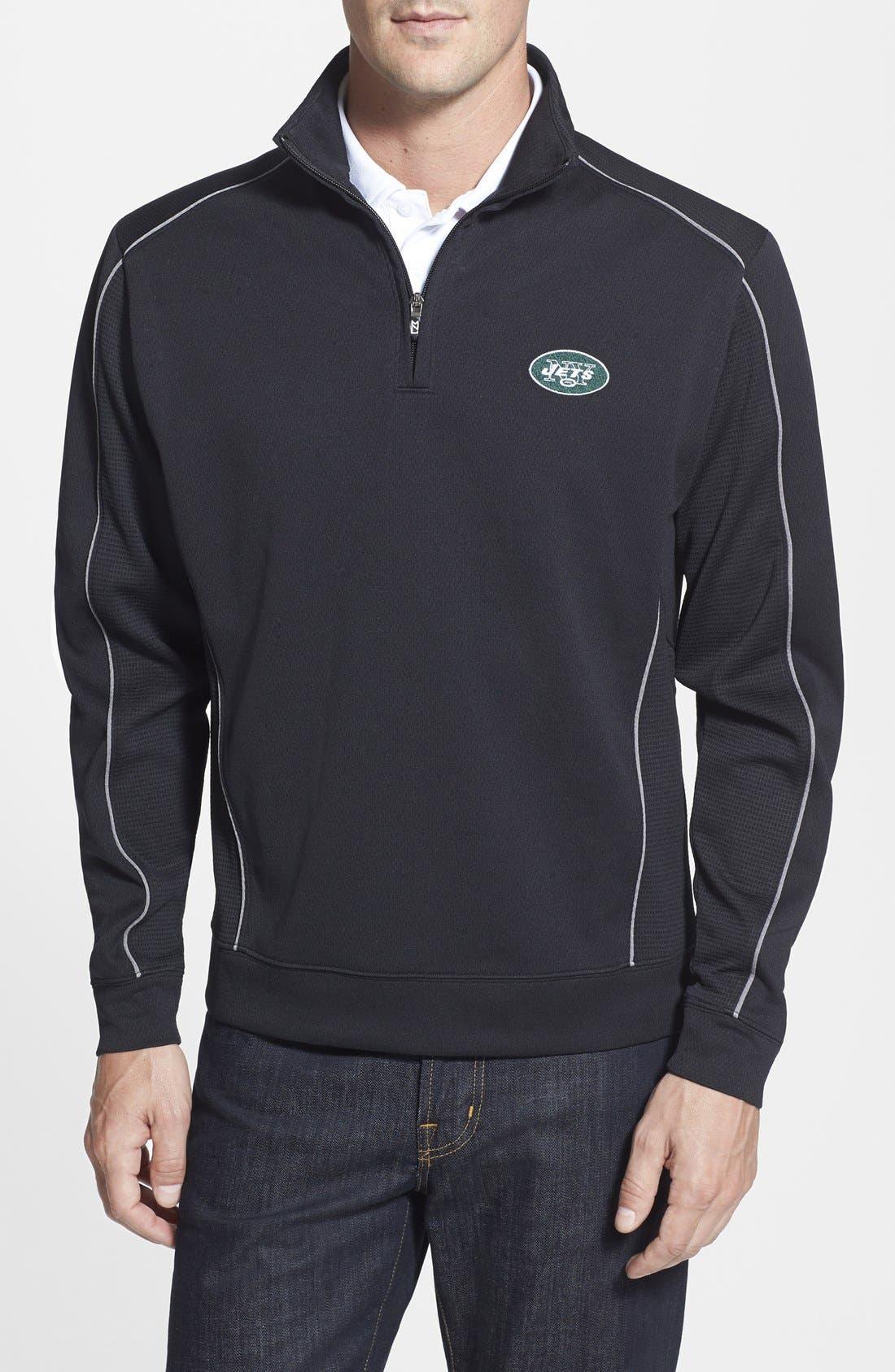 New York Jets - Edge DryTec Moisture Wicking Half Zip Pullover,                         Main,                         color, Black