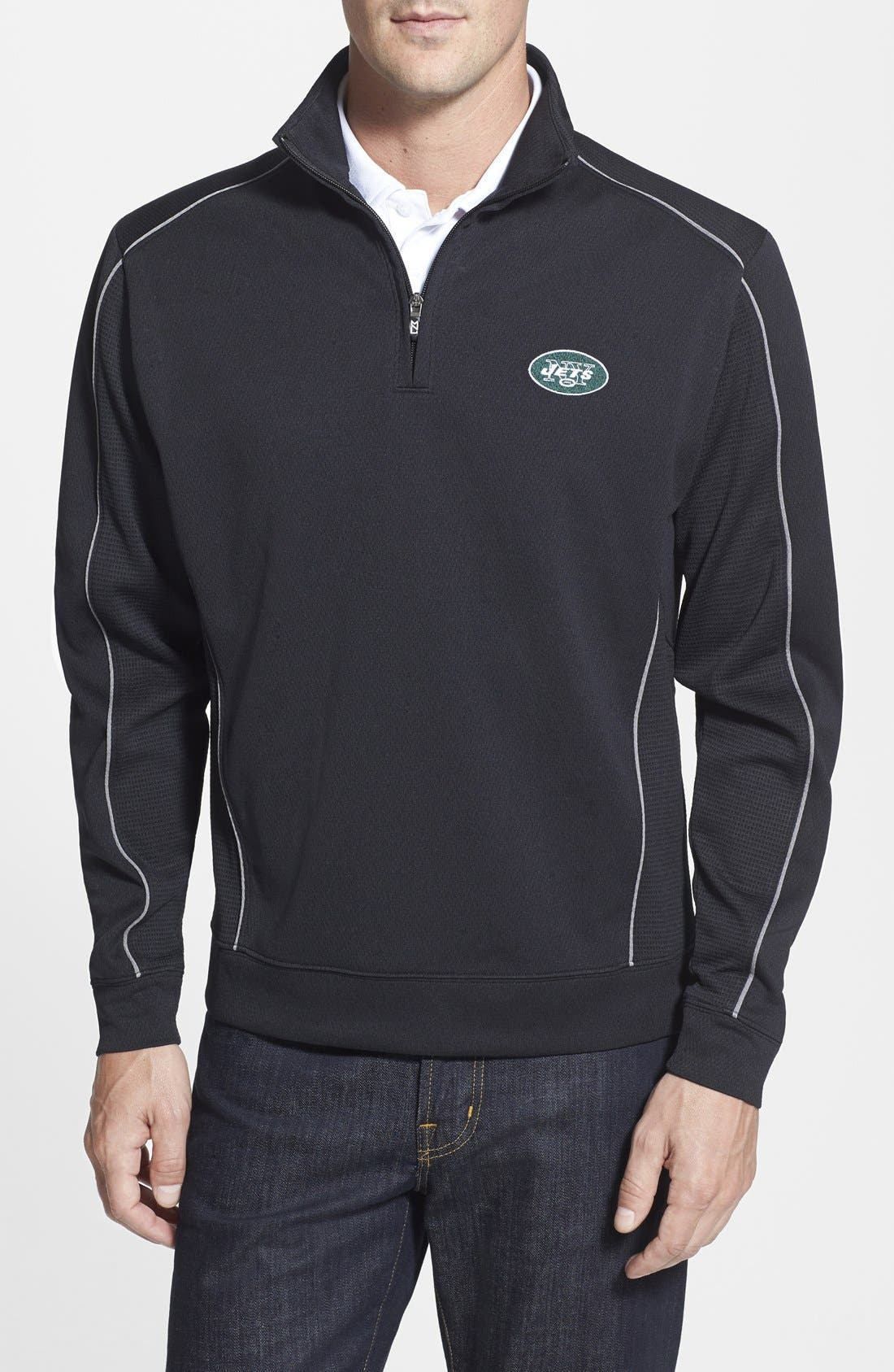 Cutter & Buck 'New York Jets - Edge' DryTec Moisture Wicking Half Zip Pullover (Big & Tall)