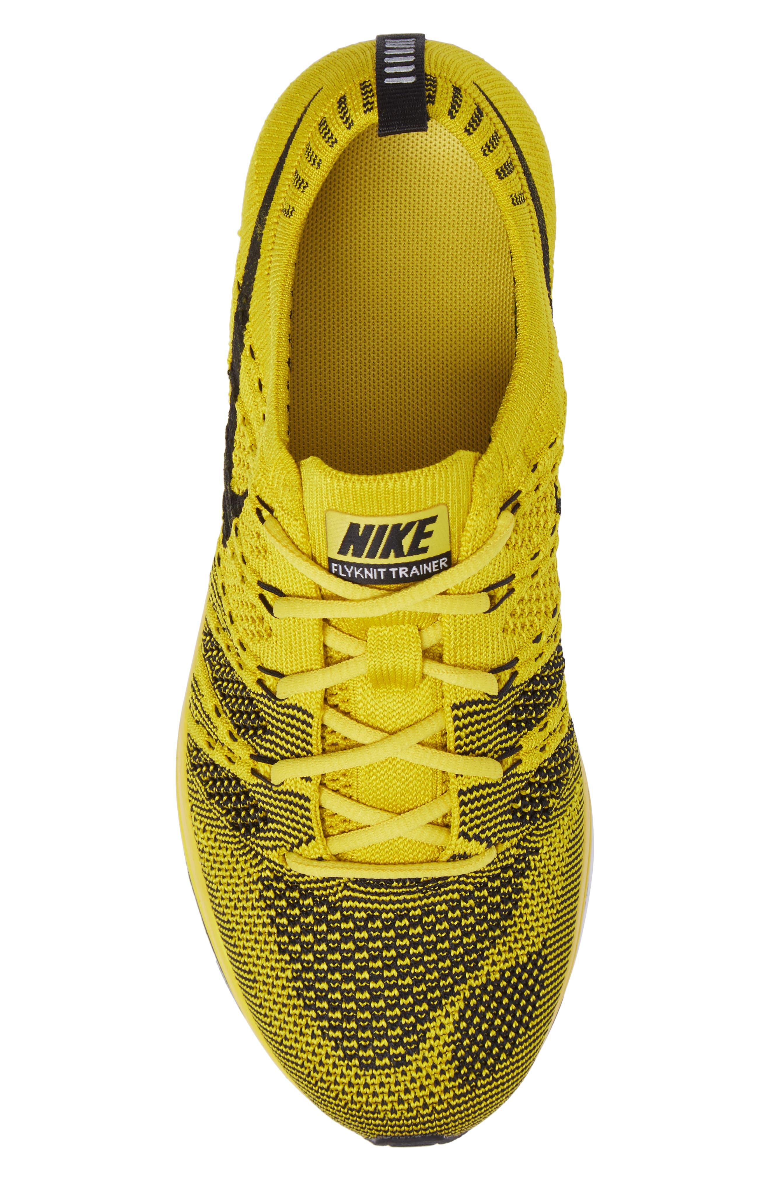 NikeLab Flyknit Trainer Sneaker,                             Alternate thumbnail 6, color,                             Bright Citron/ Black/ White