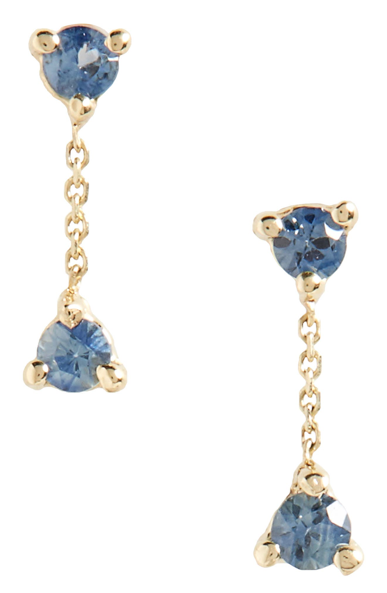 WWAKE Counting Collection Small Two-Step Sapphire Drop Earrings