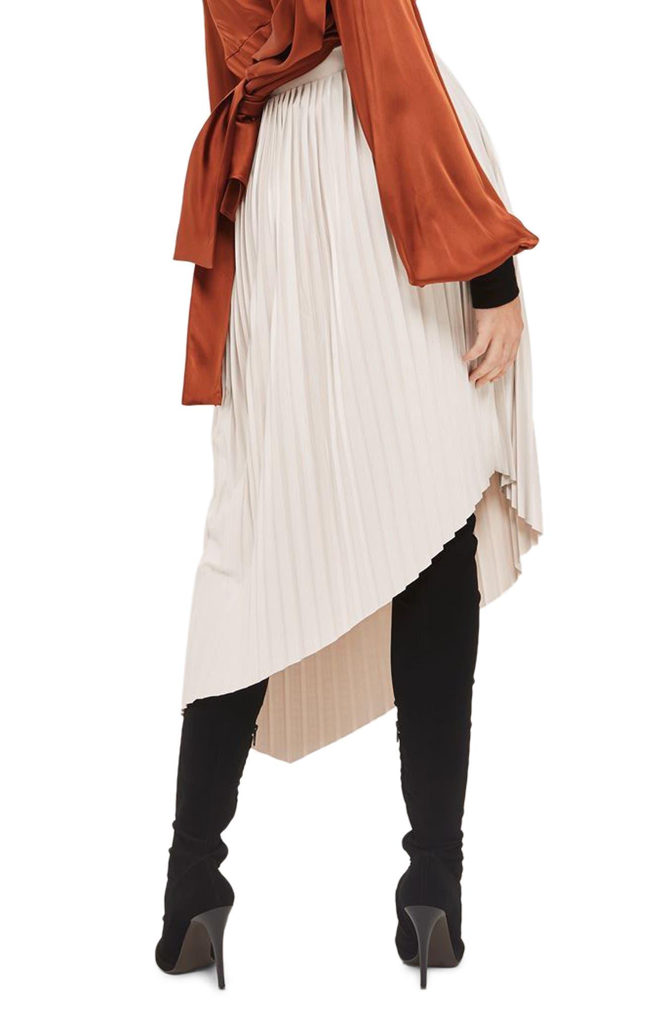Asymmetrical Pleat Midi Skirt,                             Alternate thumbnail 2, color,                             Beige