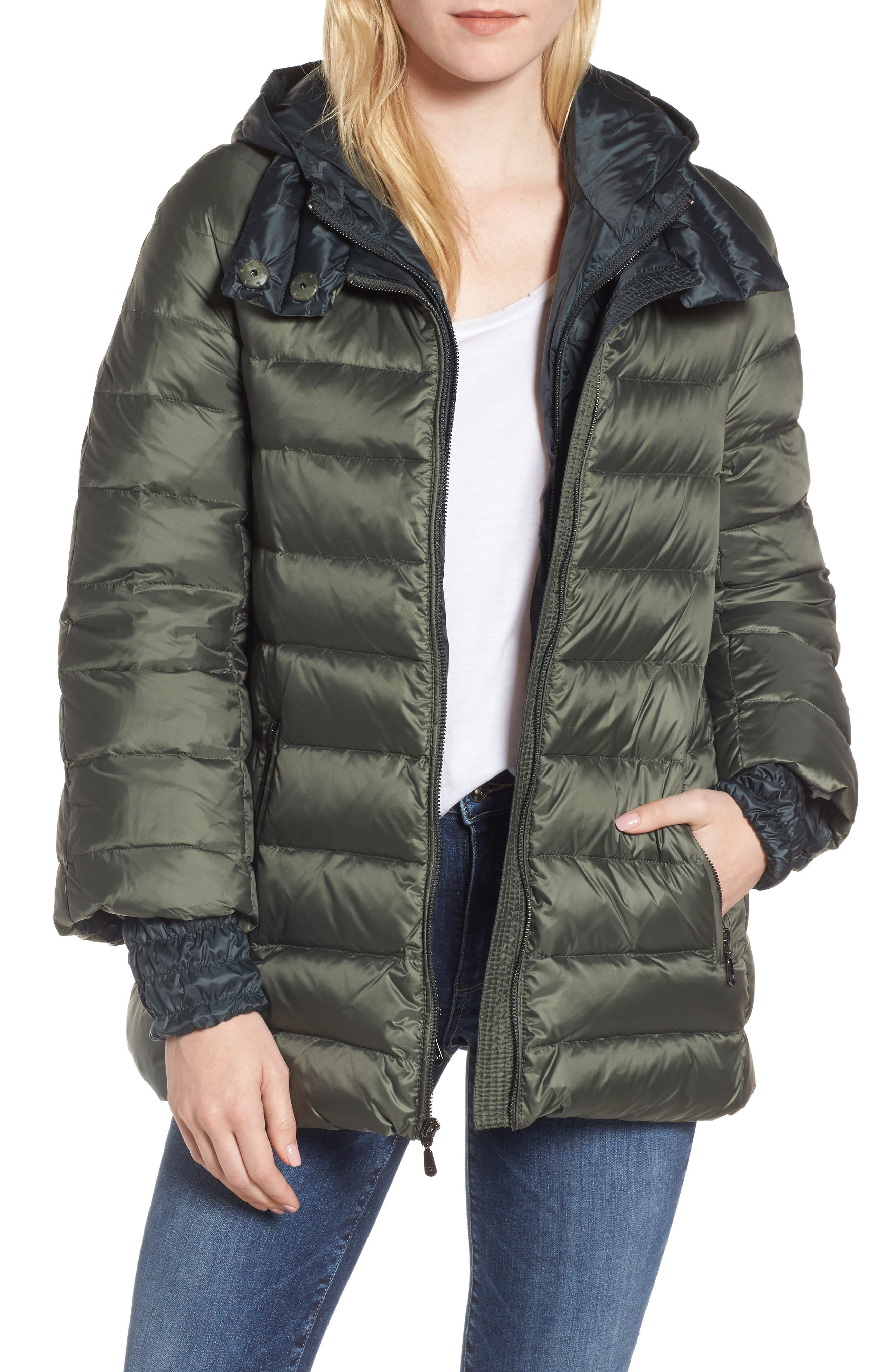 1 Madison 3-in-1 Layered Packable Quilted Down Coat