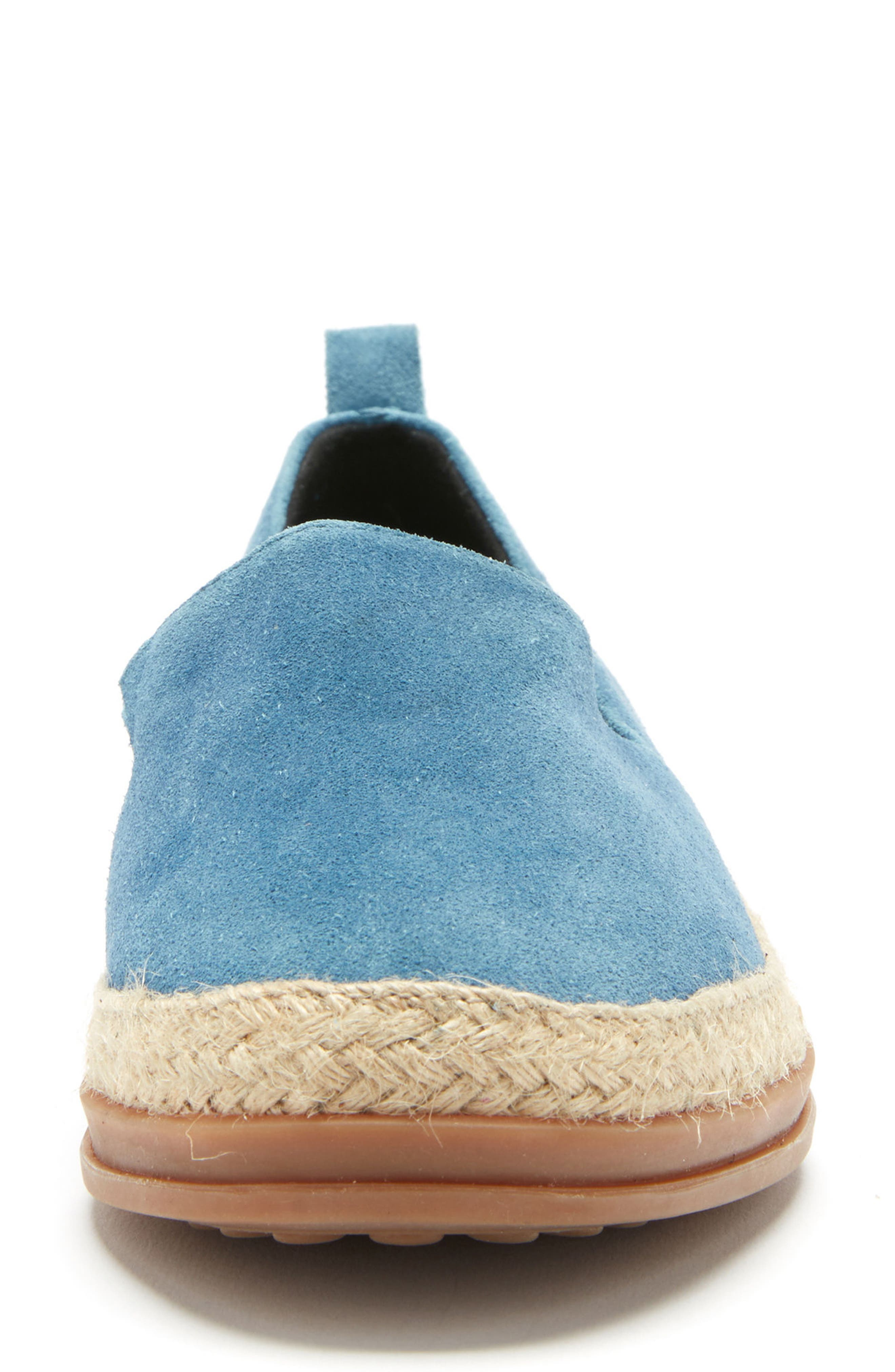 Bailey Espadrille Flat,                             Alternate thumbnail 4, color,                             Blue Suede
