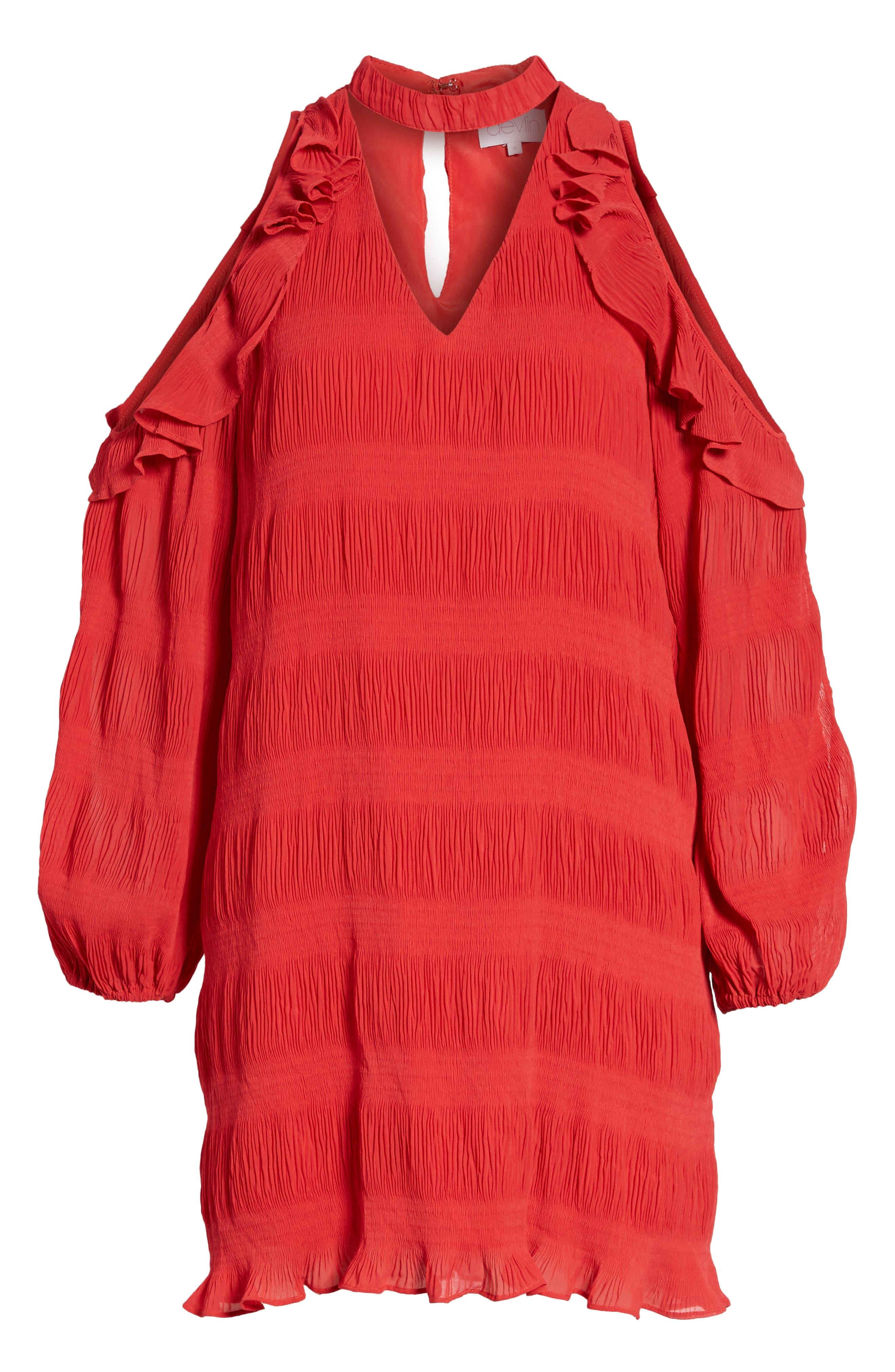 Hallie Cold Shoulder Dress,                             Alternate thumbnail 6, color,                             Dragon