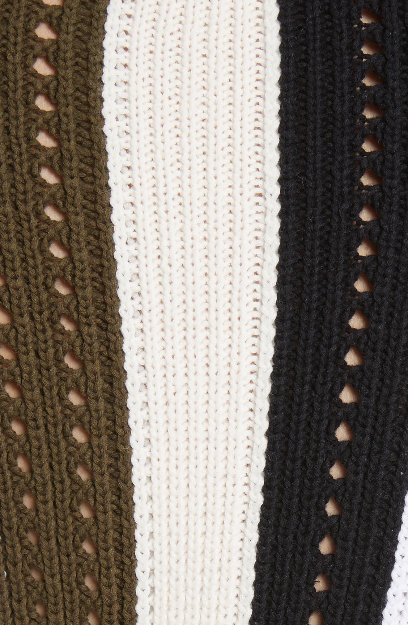 Pointelle Stripe Sweater,                             Alternate thumbnail 5, color,                             Army Multi