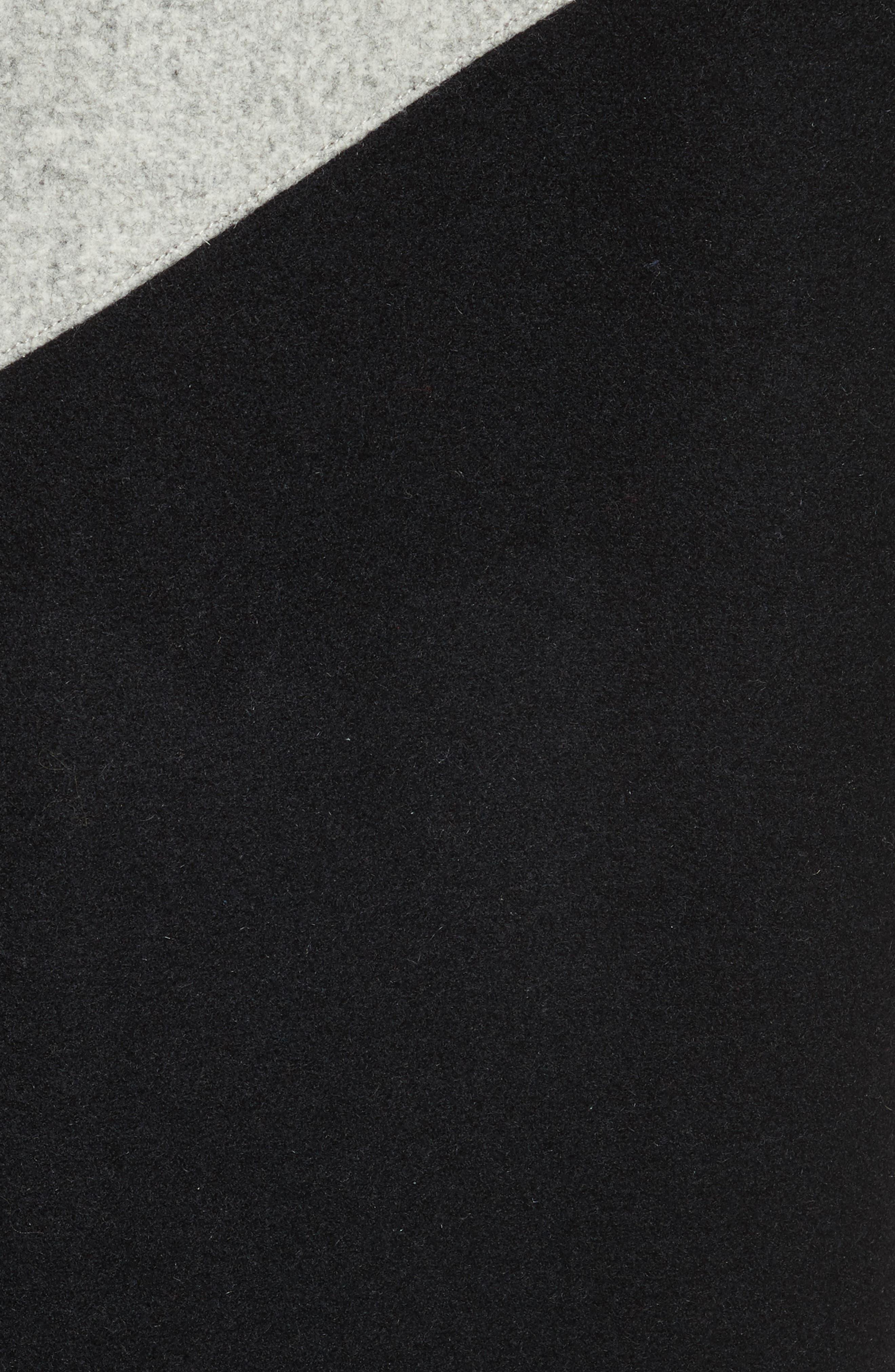 Alpha Long Varsity Jacket,                             Alternate thumbnail 5, color,                             Black