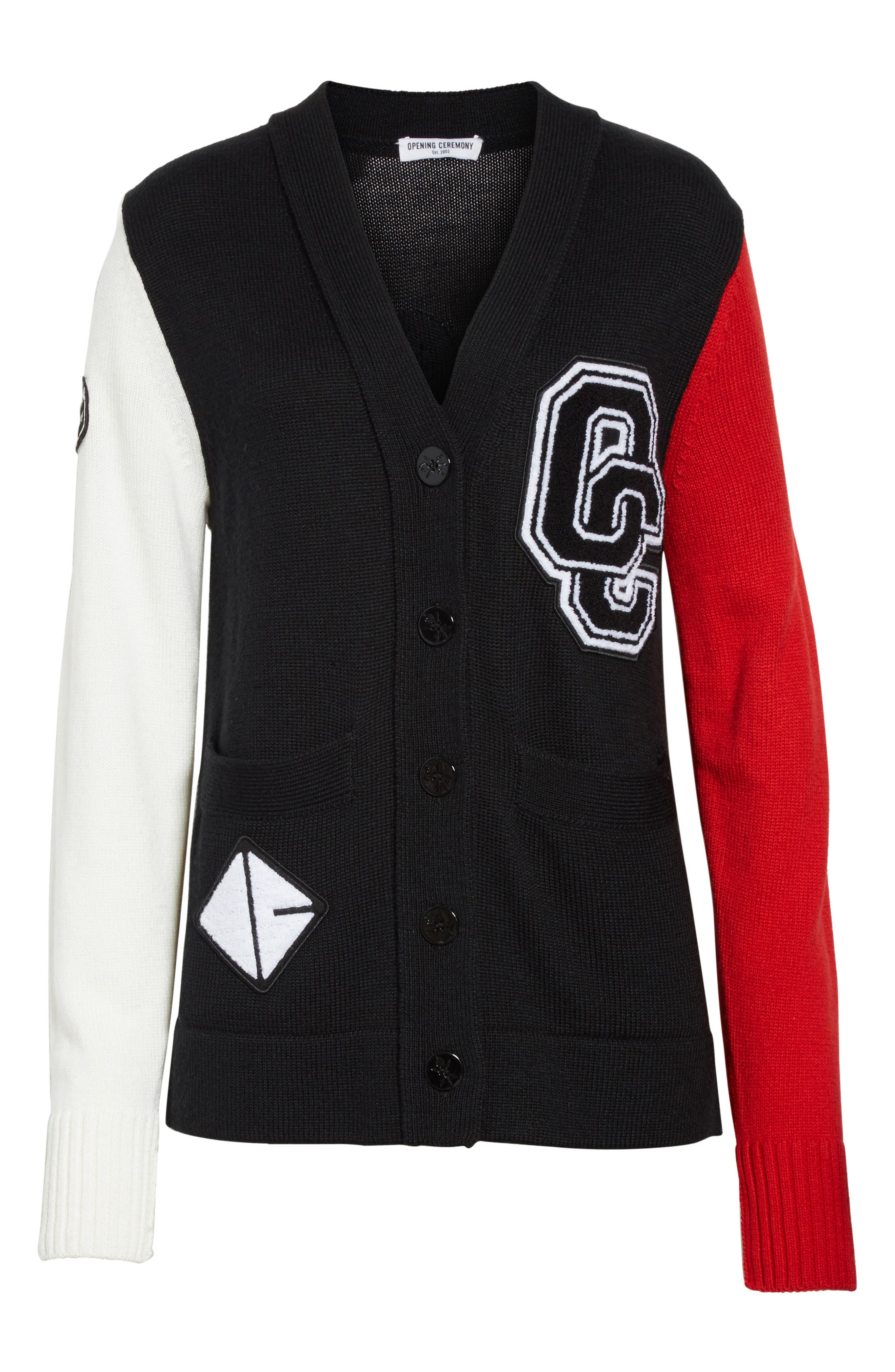 Logo Varsity Cardigan,                             Alternate thumbnail 6, color,                             Black Multi