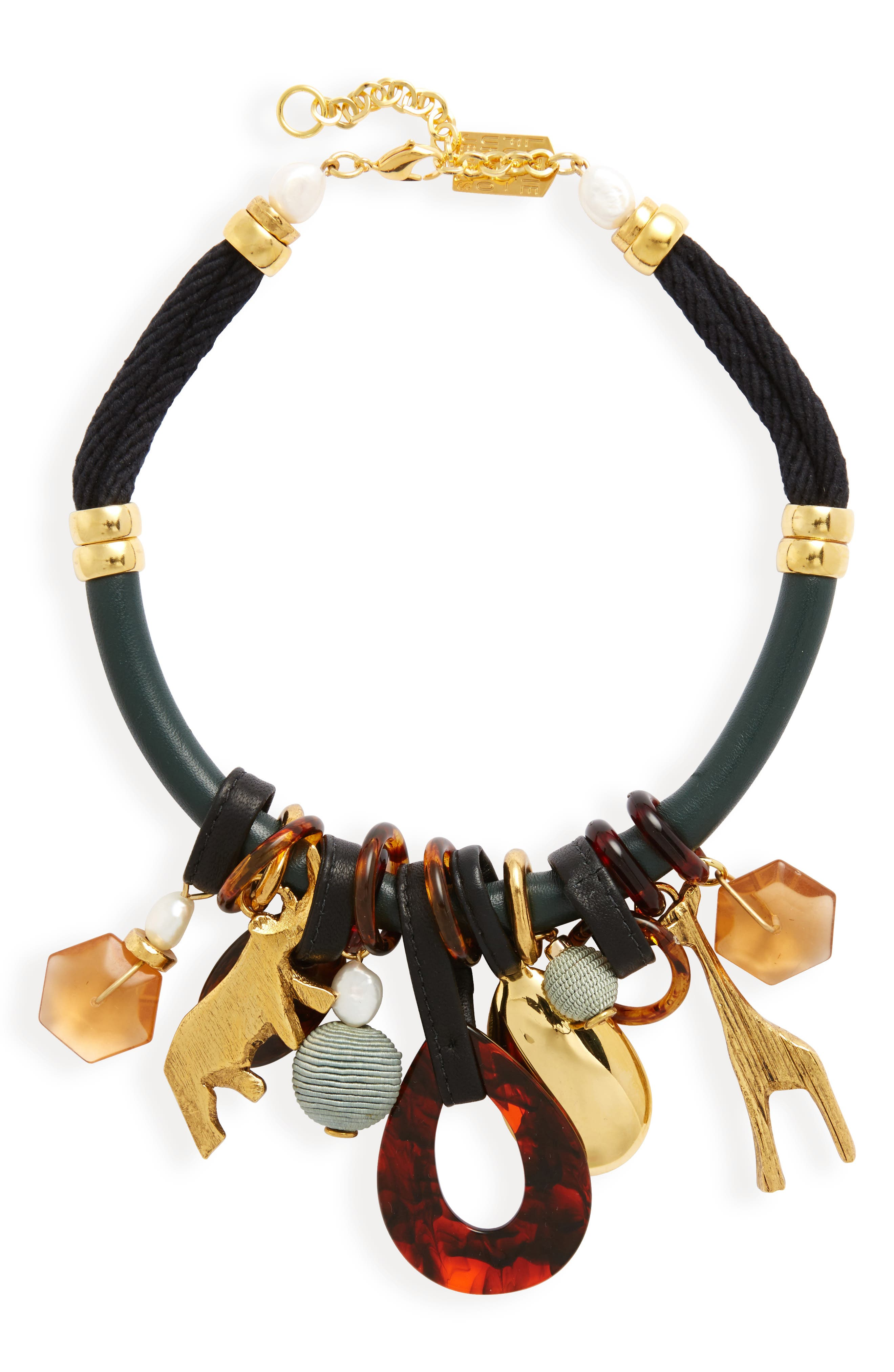 Safari State of Mind Collar Necklace,                         Main,                         color, Green/ Black