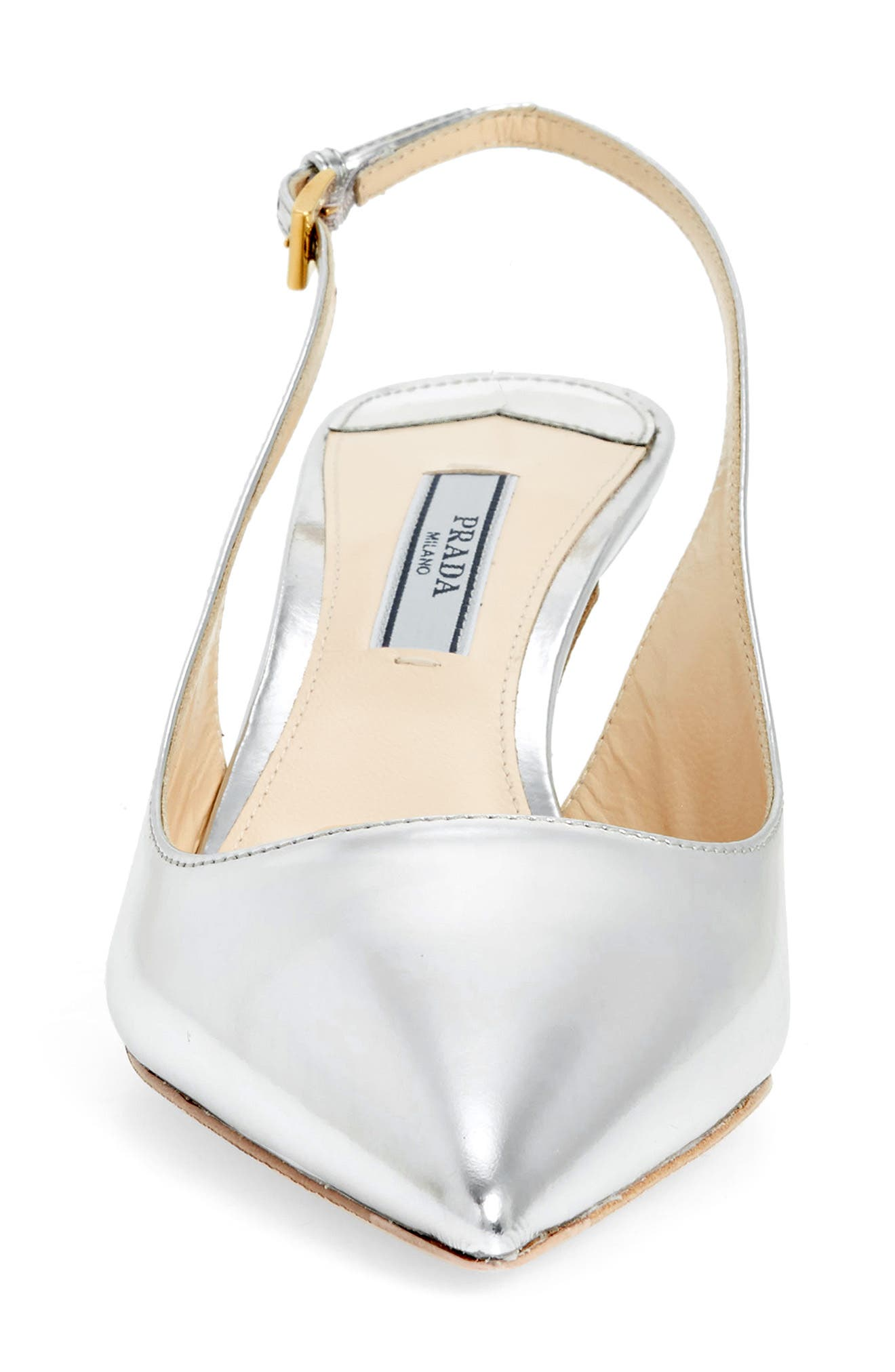 Pointy Toe Slingback Sandal,                             Alternate thumbnail 4, color,                             Silver