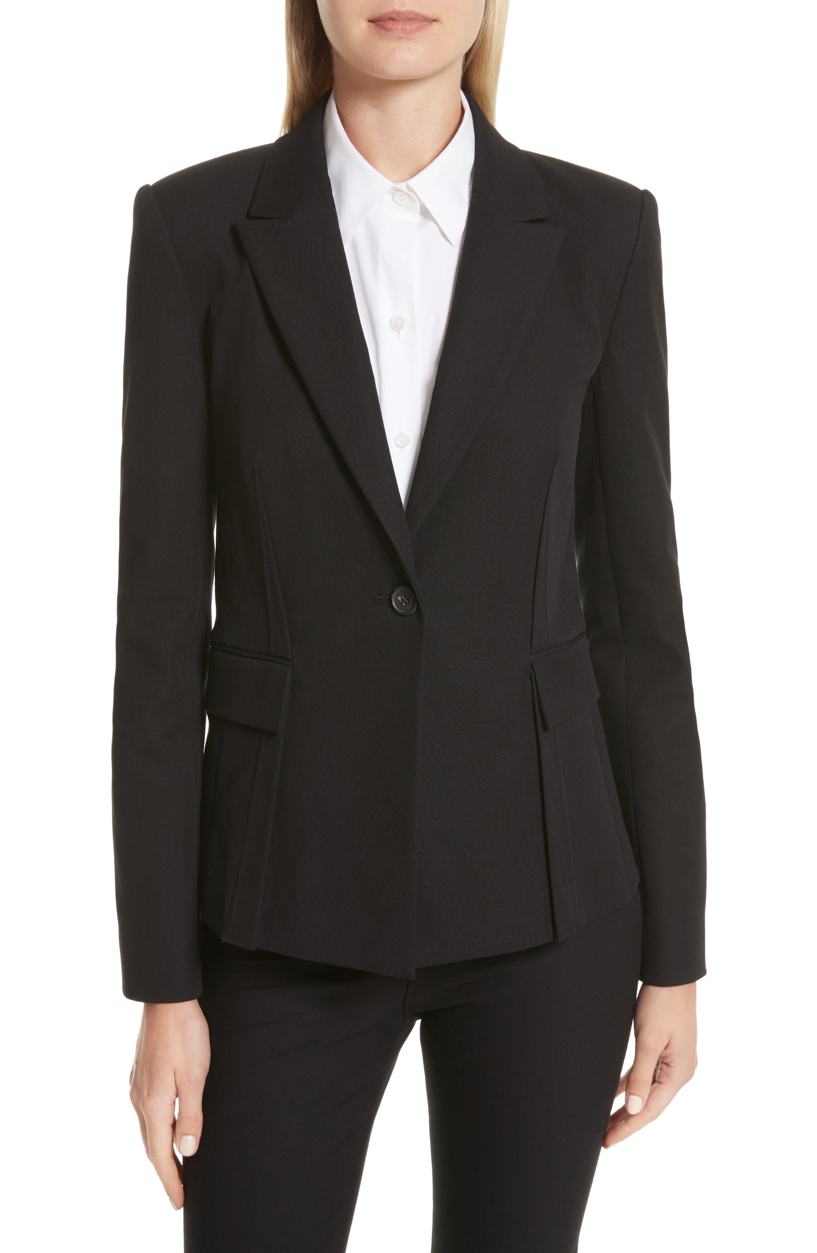 Grommet Tie Back Blazer,                             Main thumbnail 1, color,                             Black