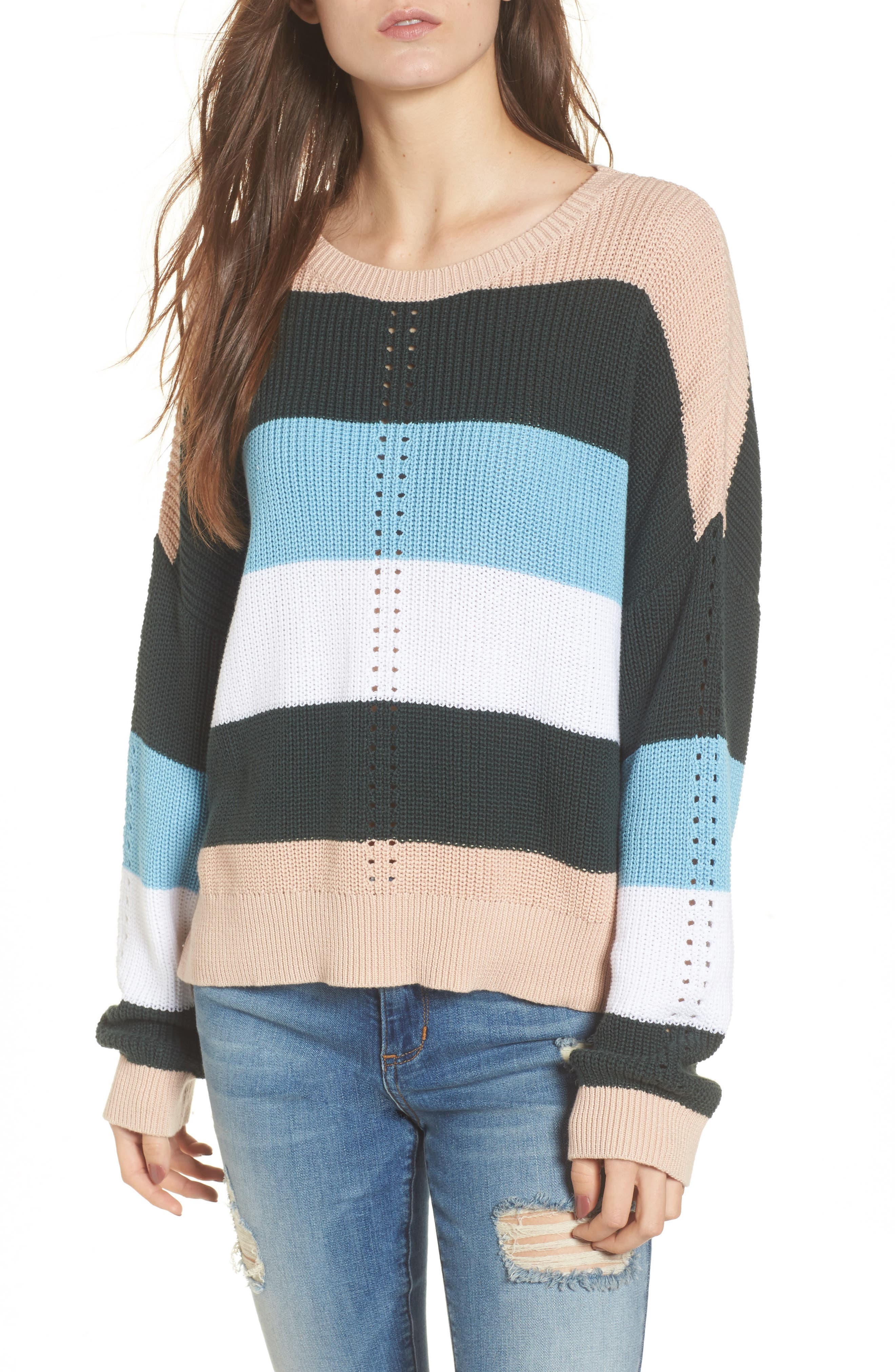 Stripe Sweater,                             Main thumbnail 1, color,                             Pink Hero Felicity Stripe