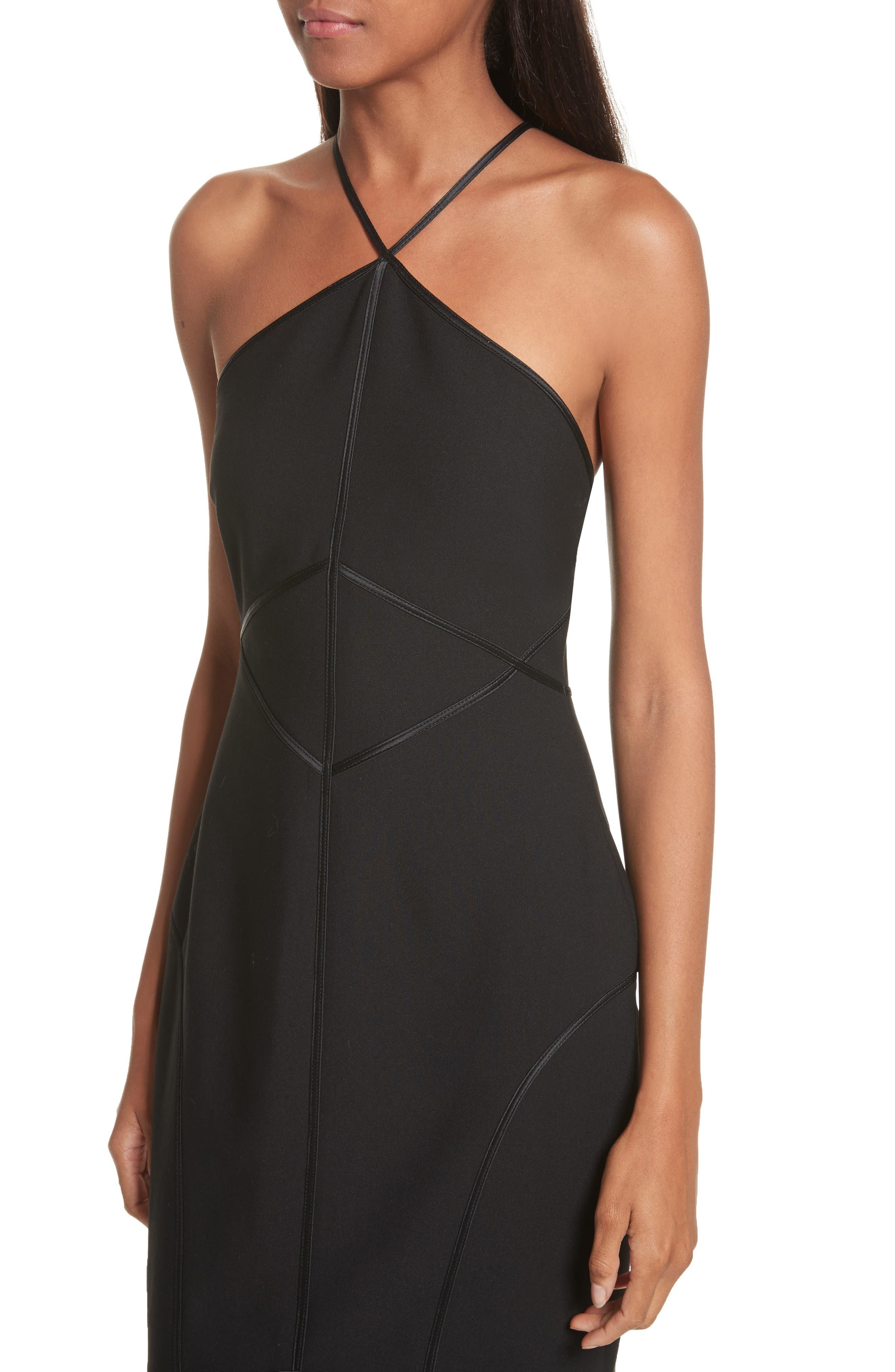 Bryn Halter Dress,                             Alternate thumbnail 4, color,                             Black