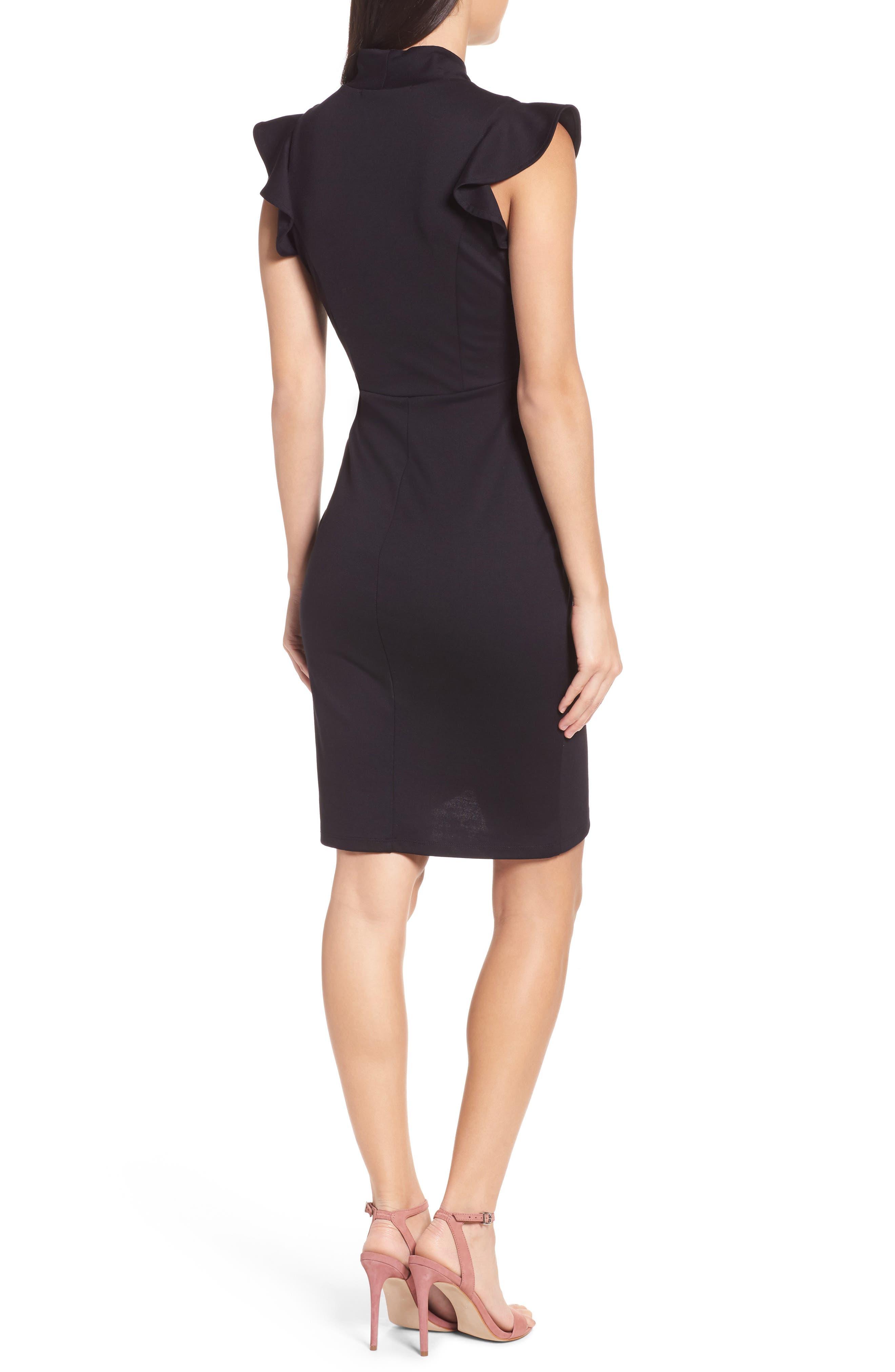 Flutter Sleeve Sheath Dress,                             Alternate thumbnail 2, color,                             Black
