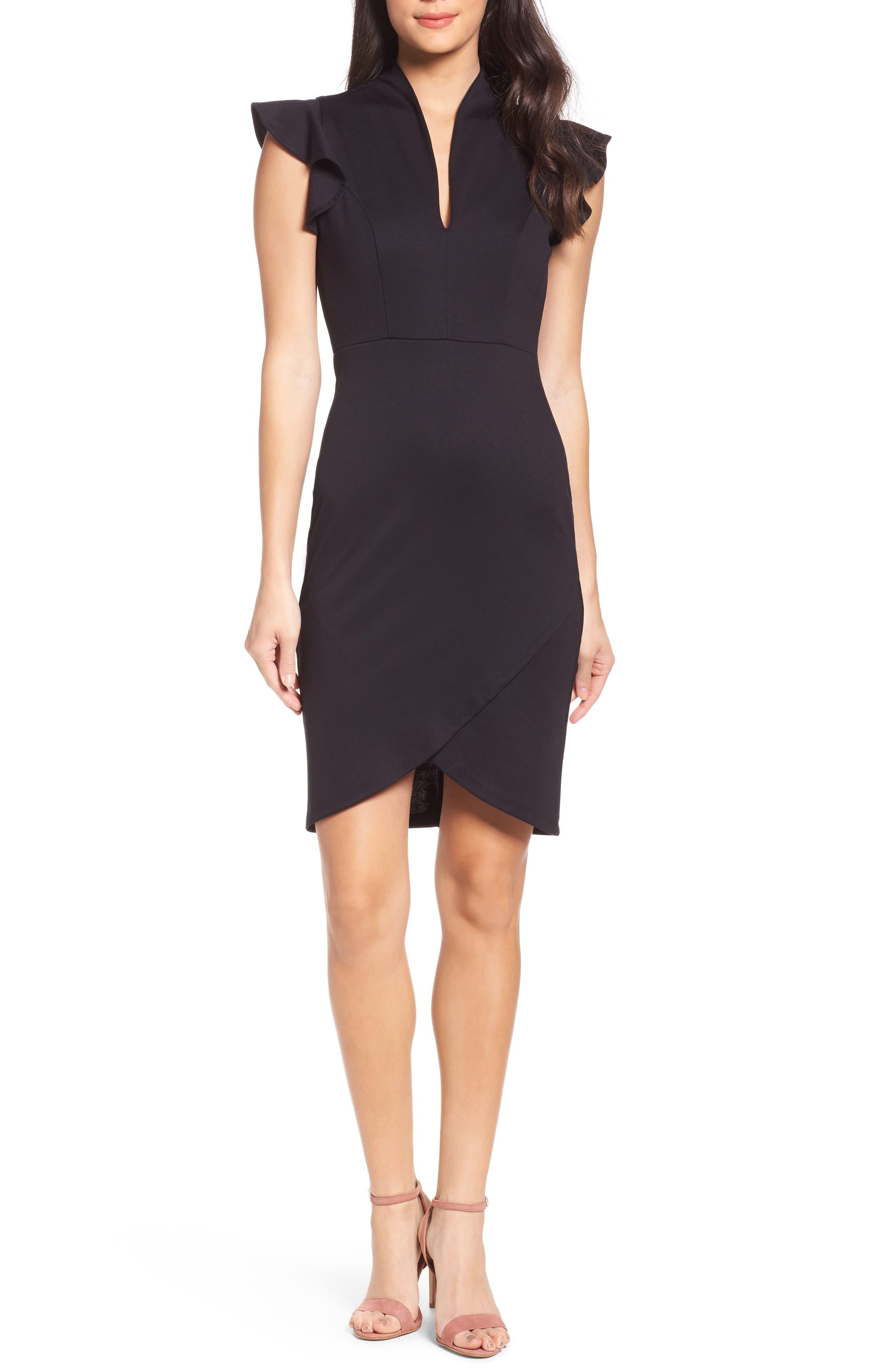 Flutter Sleeve Sheath Dress,                             Main thumbnail 1, color,                             Black