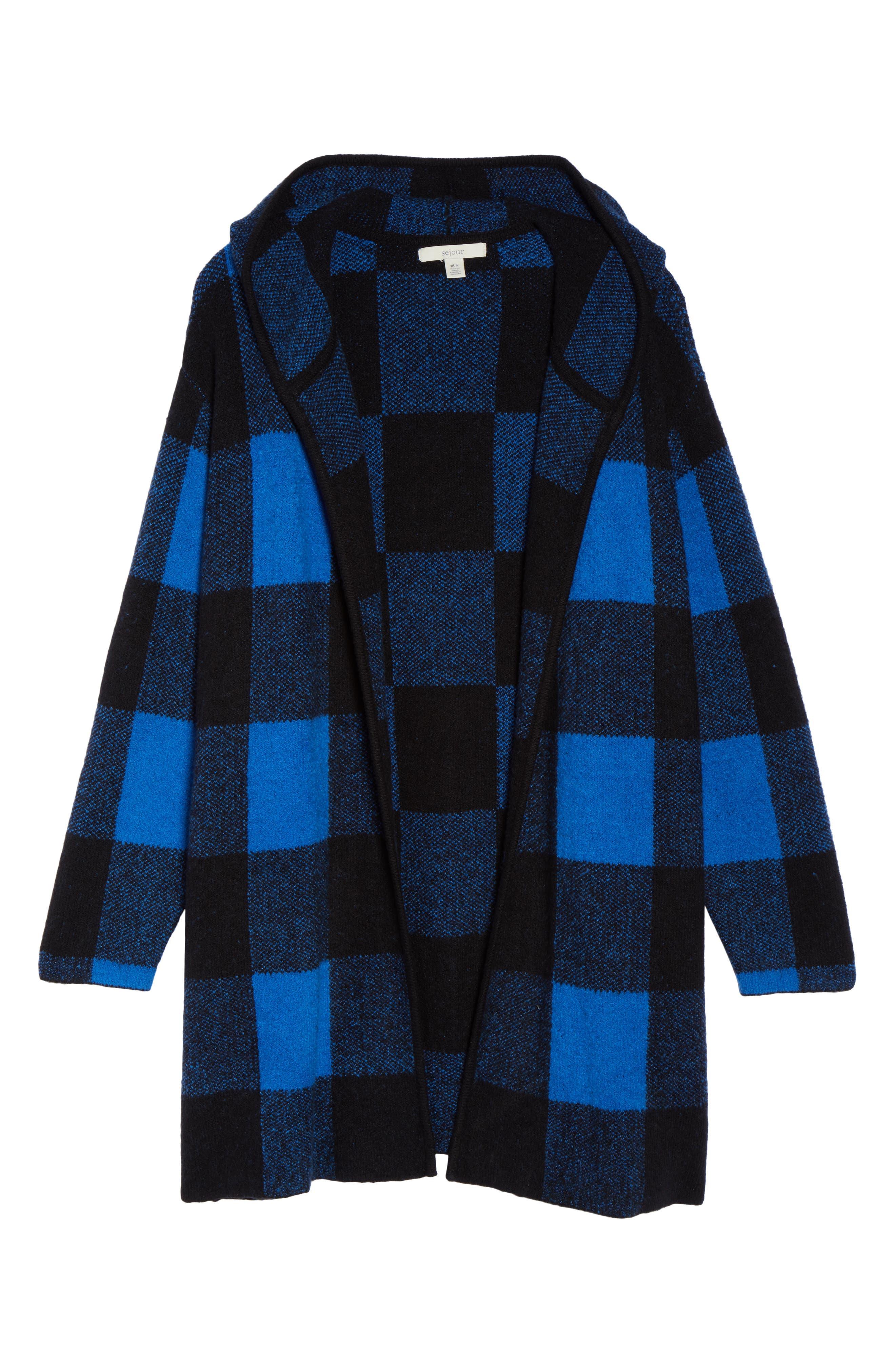 Plaid Hooded Sweater Coatigan,                             Alternate thumbnail 6, color,                             Blue Checkerboard Jacquard