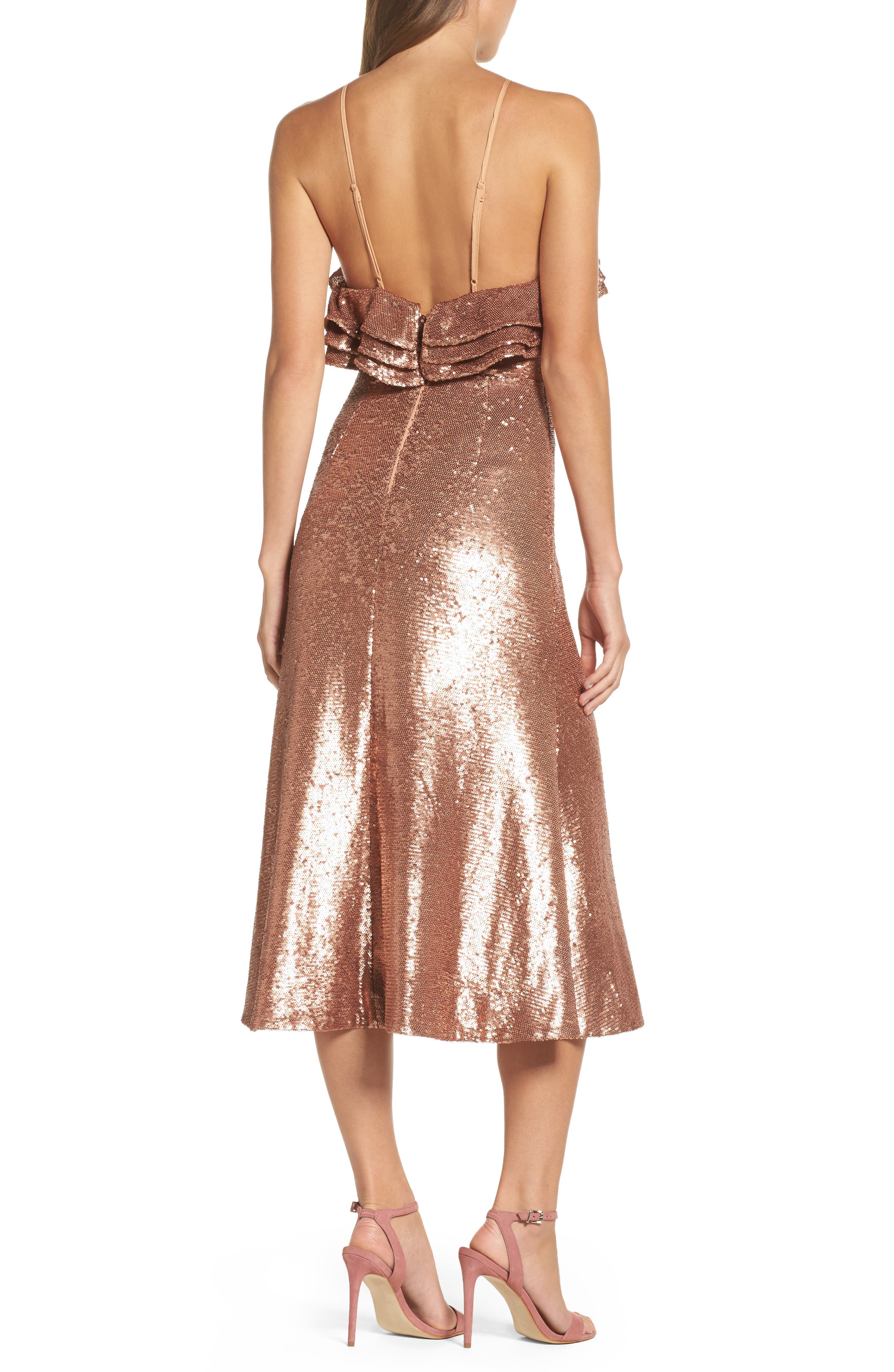 Illuminated Sequin Ruffle Midi Dress,                             Alternate thumbnail 3, color,                             Copper