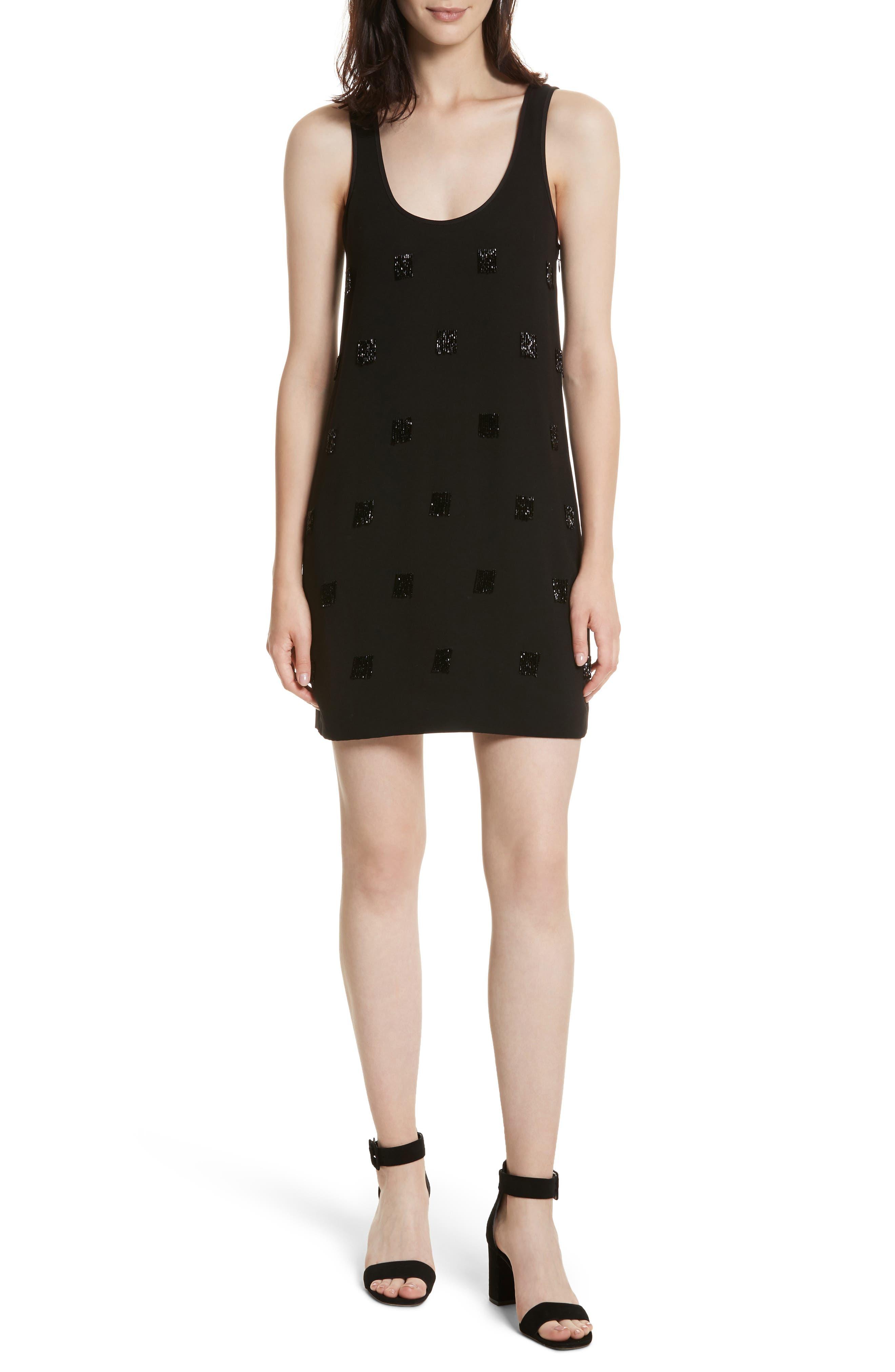 Greene Beaded Fringe Minidress,                         Main,                         color, Black
