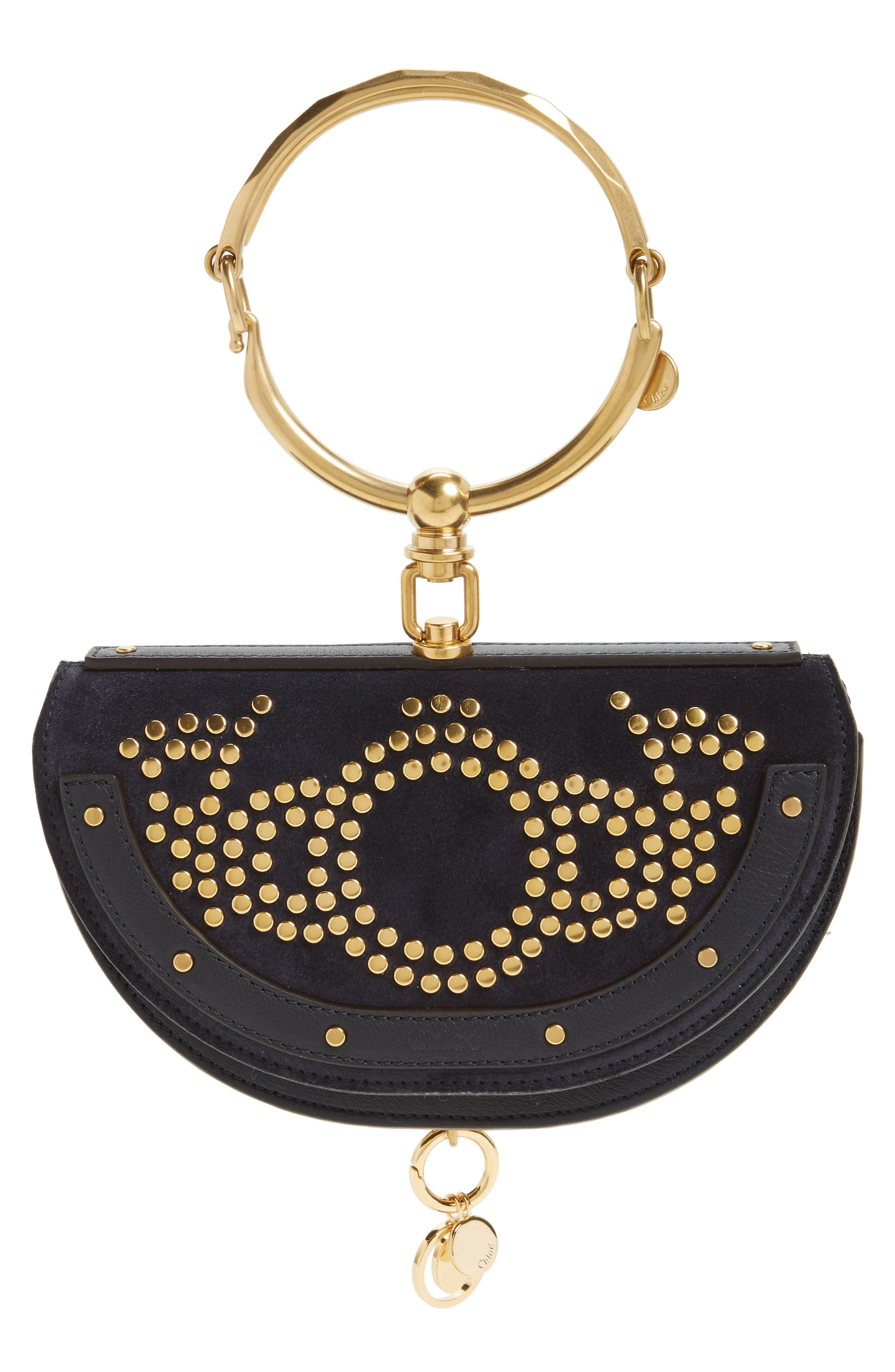 Small Nile Studded Suede & Leather Convertible Bag,                             Main thumbnail 1, color,                             Full Blue