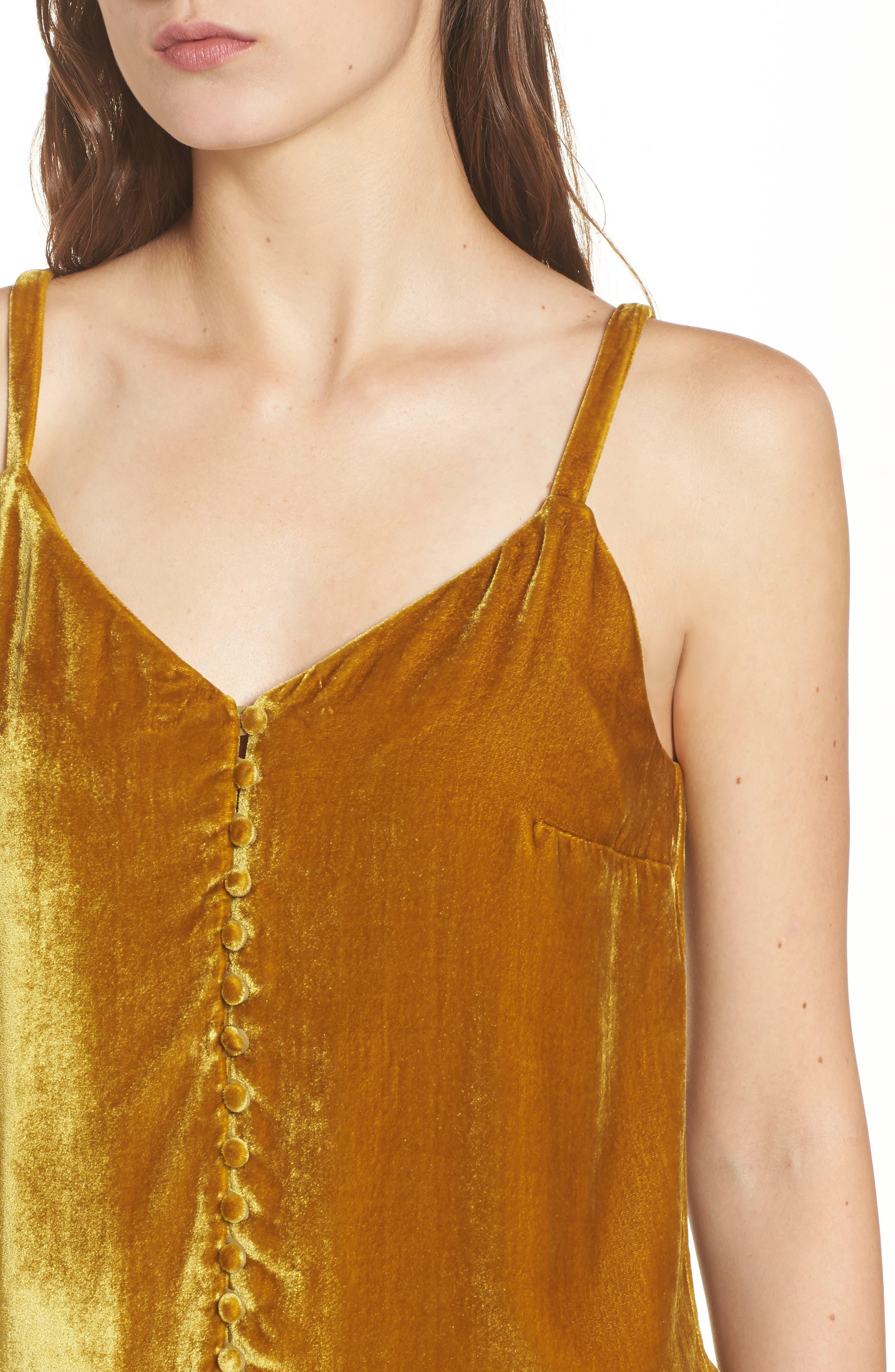 Velvet Button Camisole,                             Alternate thumbnail 4, color,                             Vintage Gold