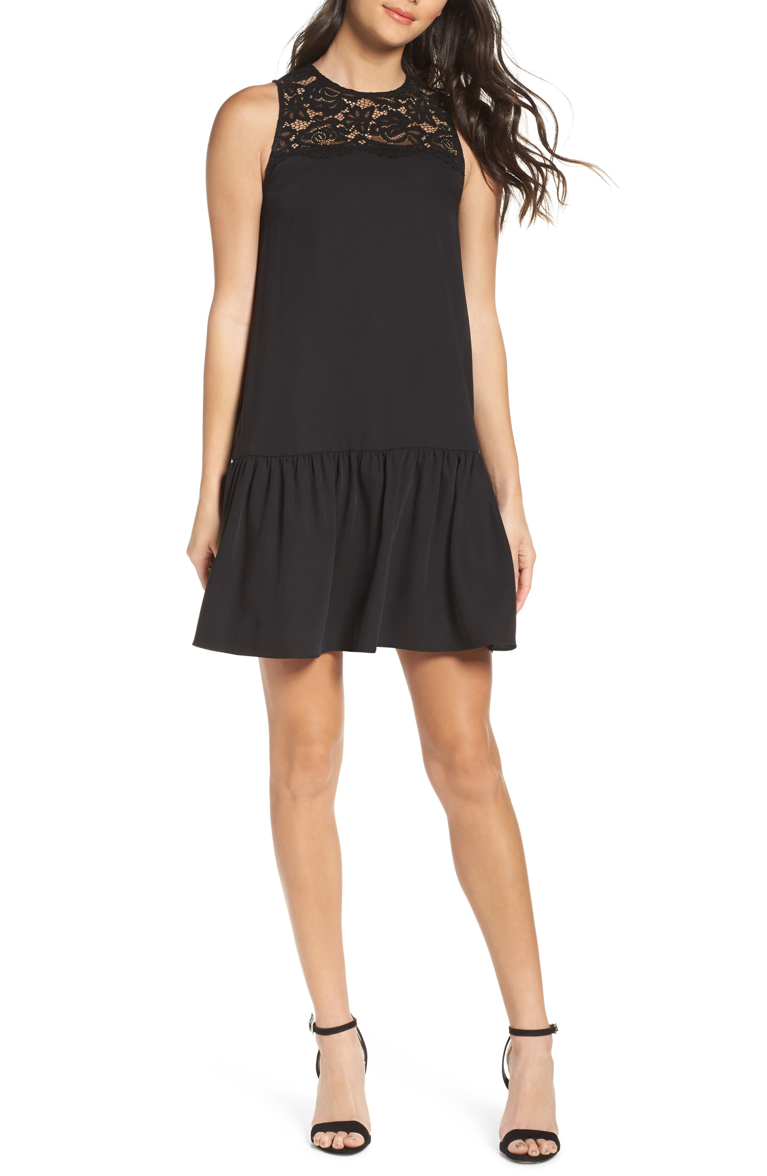 NSR Lace & Crepe Shift Dress