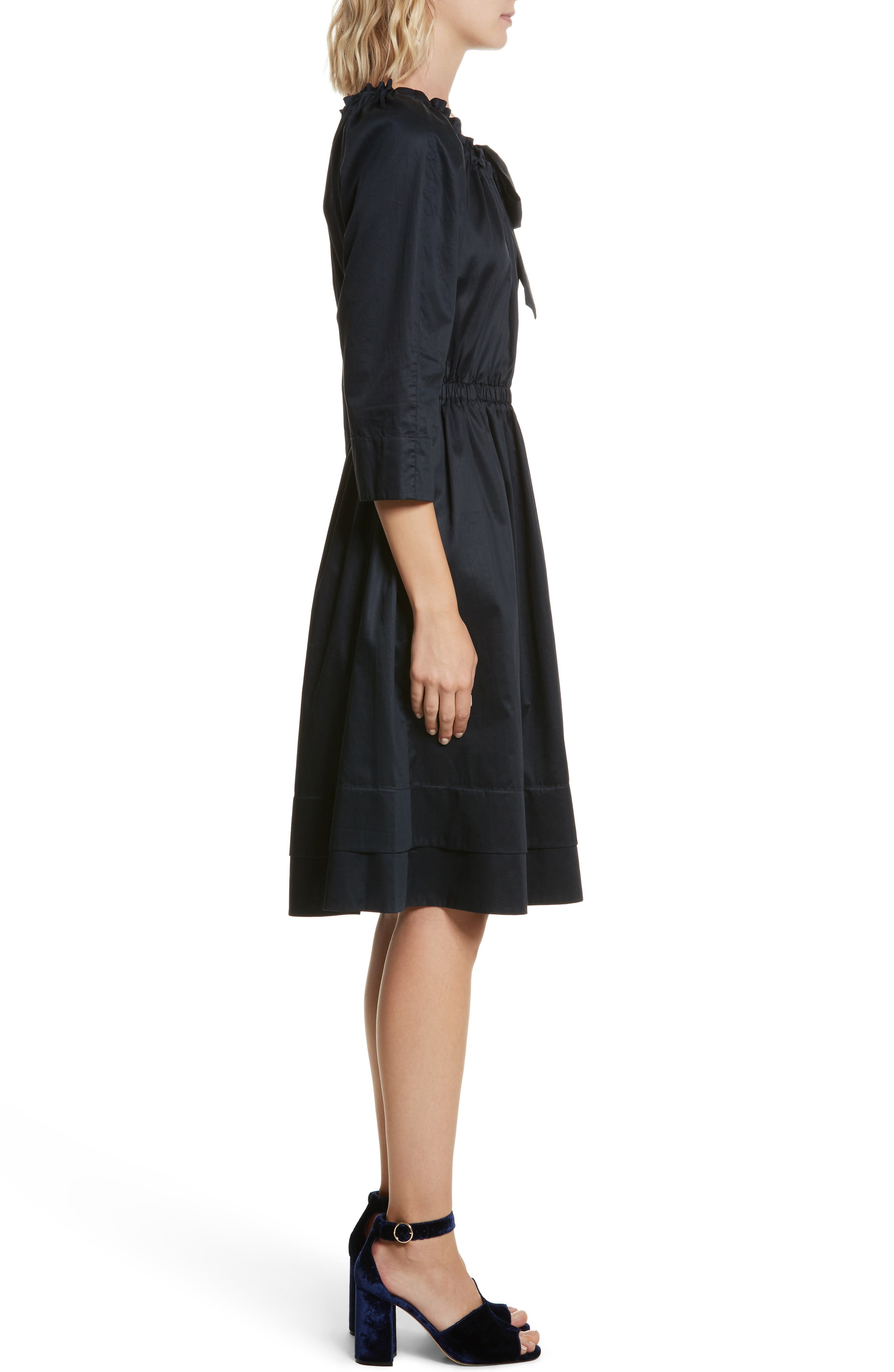 Bow Neck Washed Sateen Dress,                             Alternate thumbnail 3, color,                             Midnight Navy