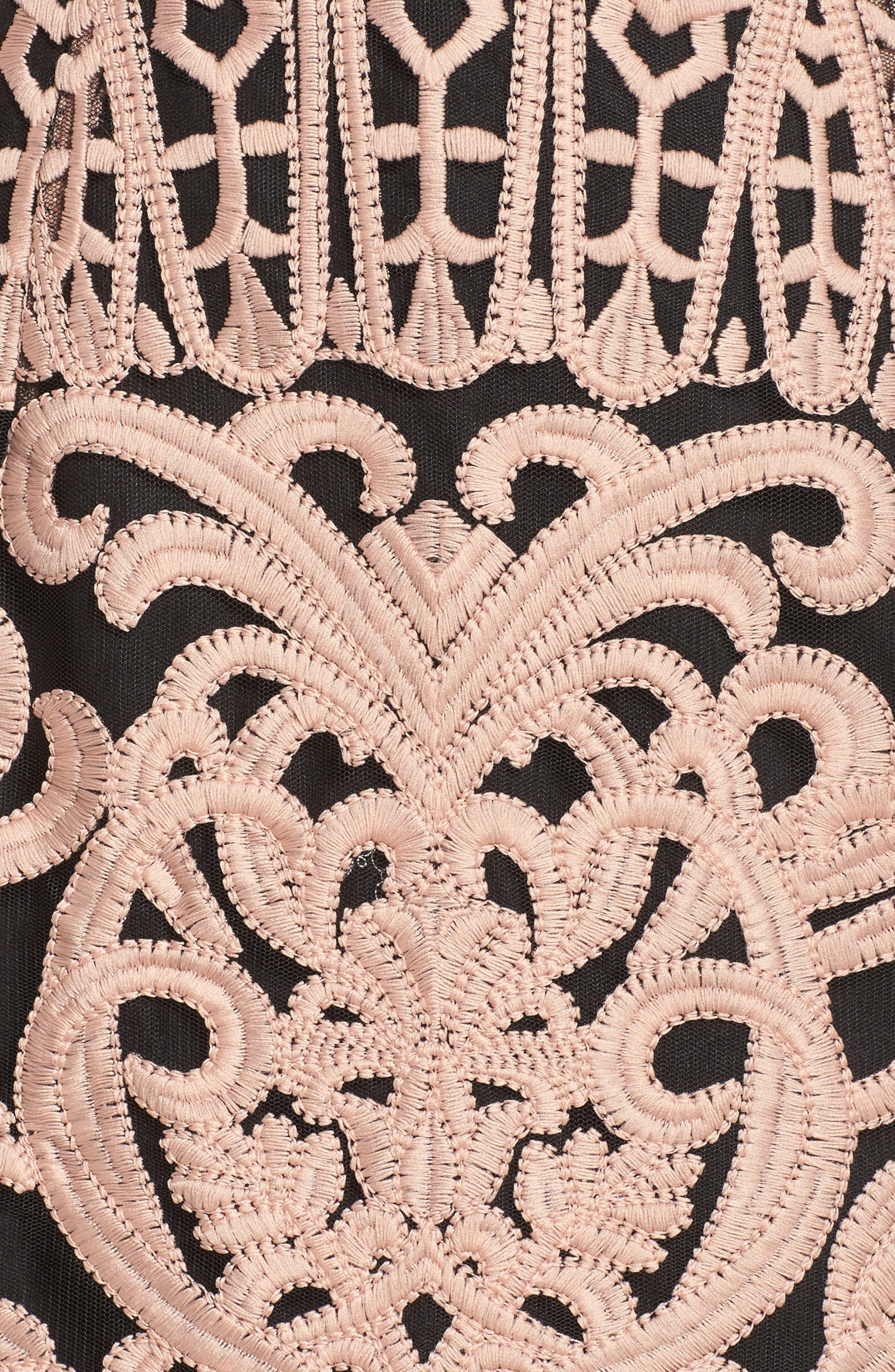 Rosabel Embroidered Midi Sheath Dress,                             Alternate thumbnail 5, color,                             Pink