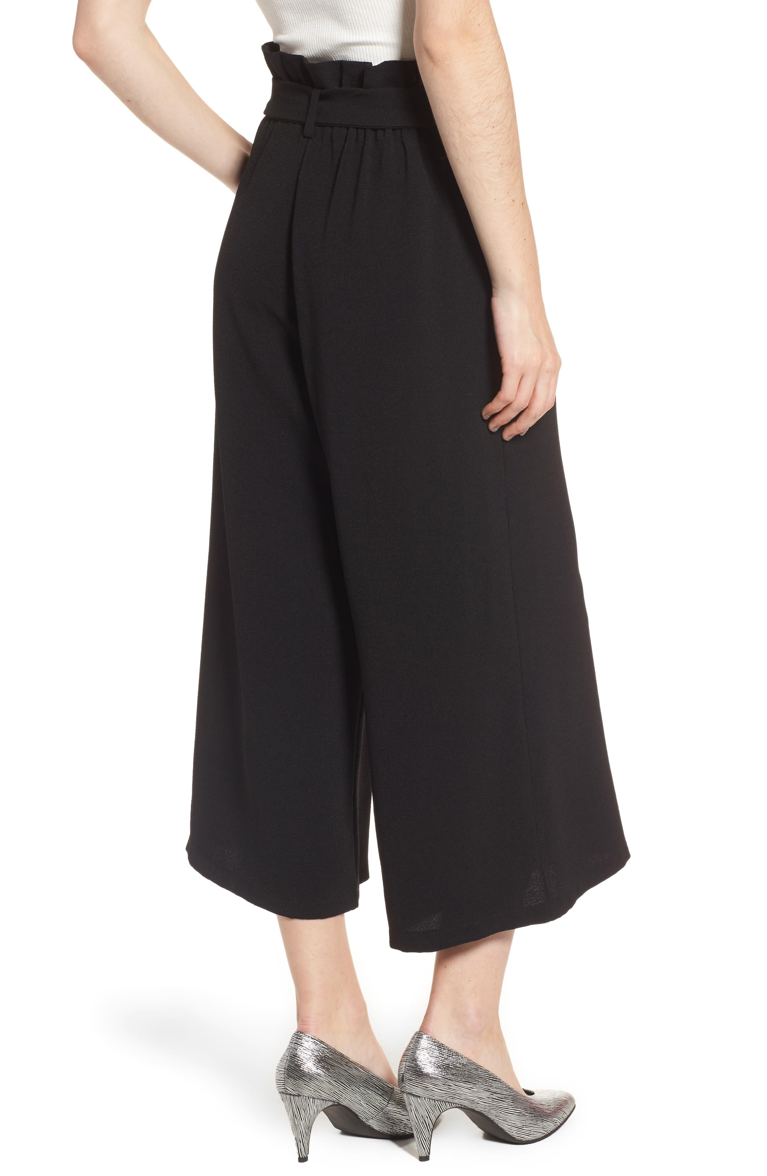 Paperbag Waist Wide Leg Crop Pants,                             Alternate thumbnail 2, color,                             Black
