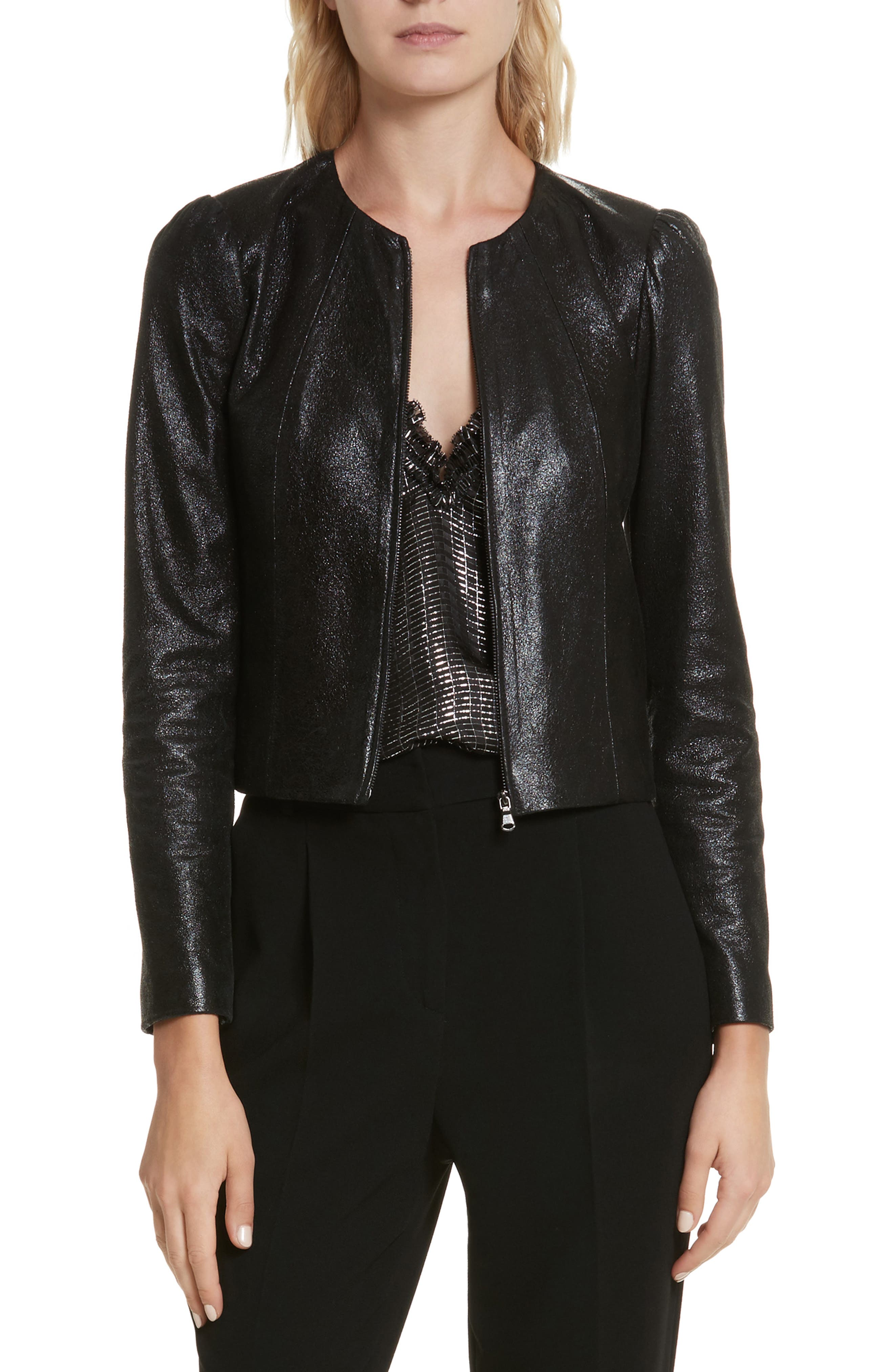 Metallic Leather Jacket,                             Main thumbnail 1, color,                             Black Sparkle