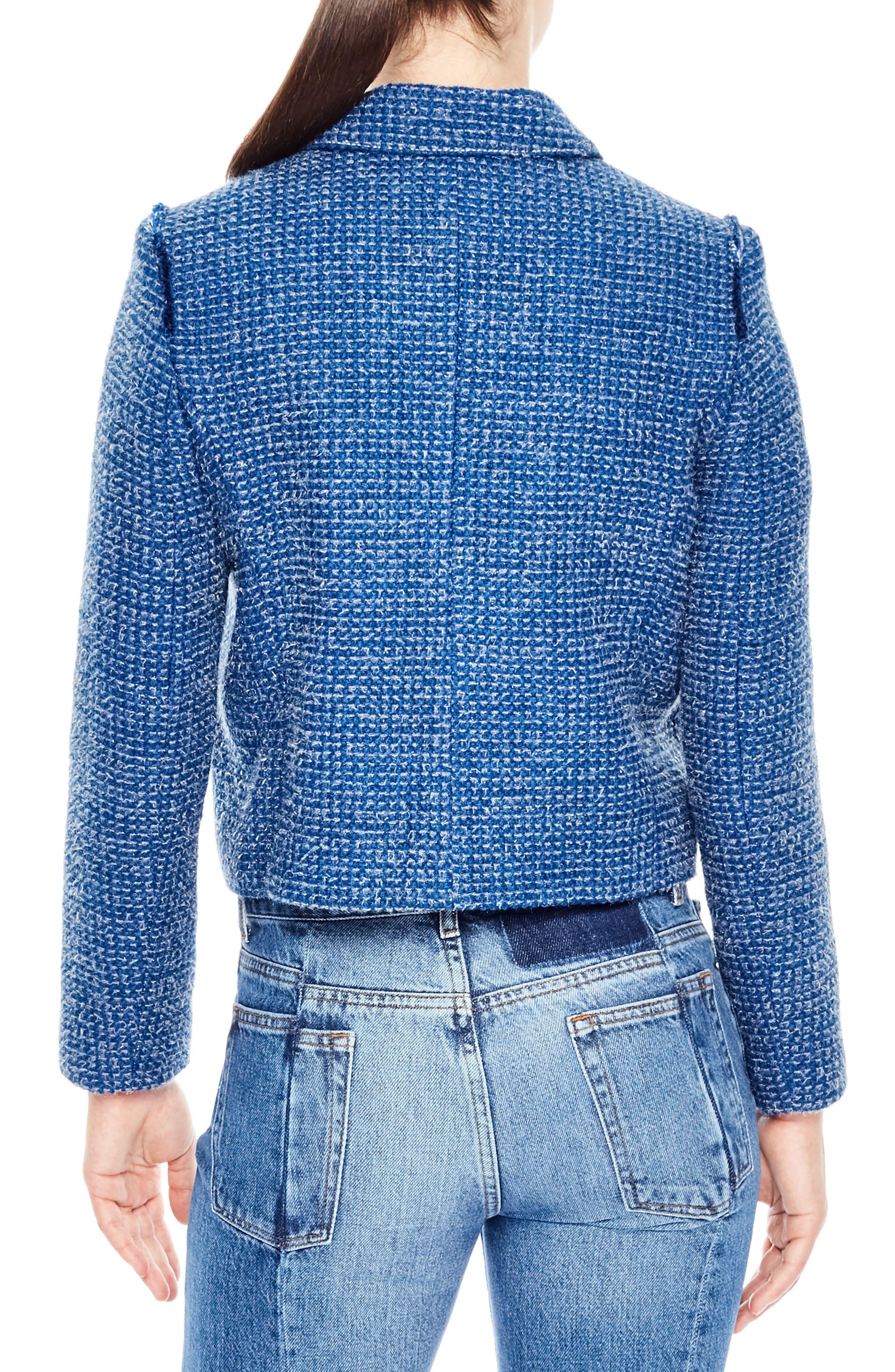 Tweed Crop Jacket,                             Alternate thumbnail 2, color,                             Sky Blue