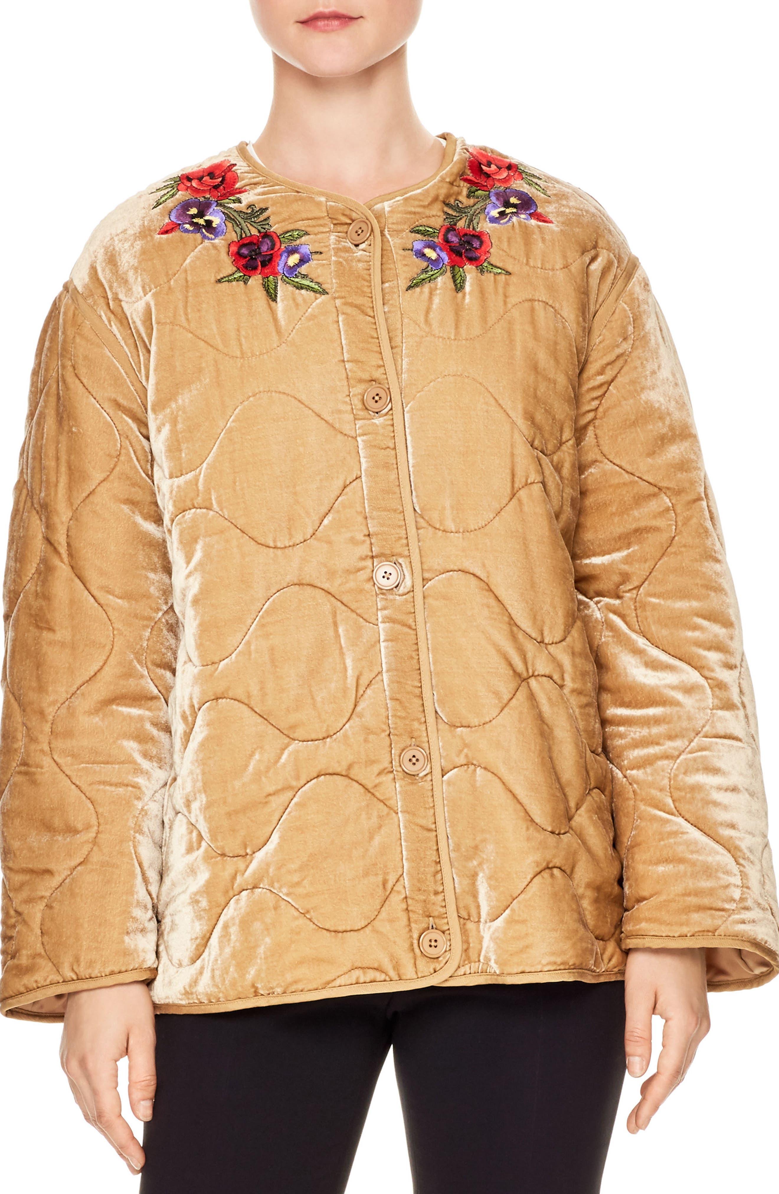 Reva Quilted Velvet Jacket,                             Main thumbnail 1, color,                             Beige