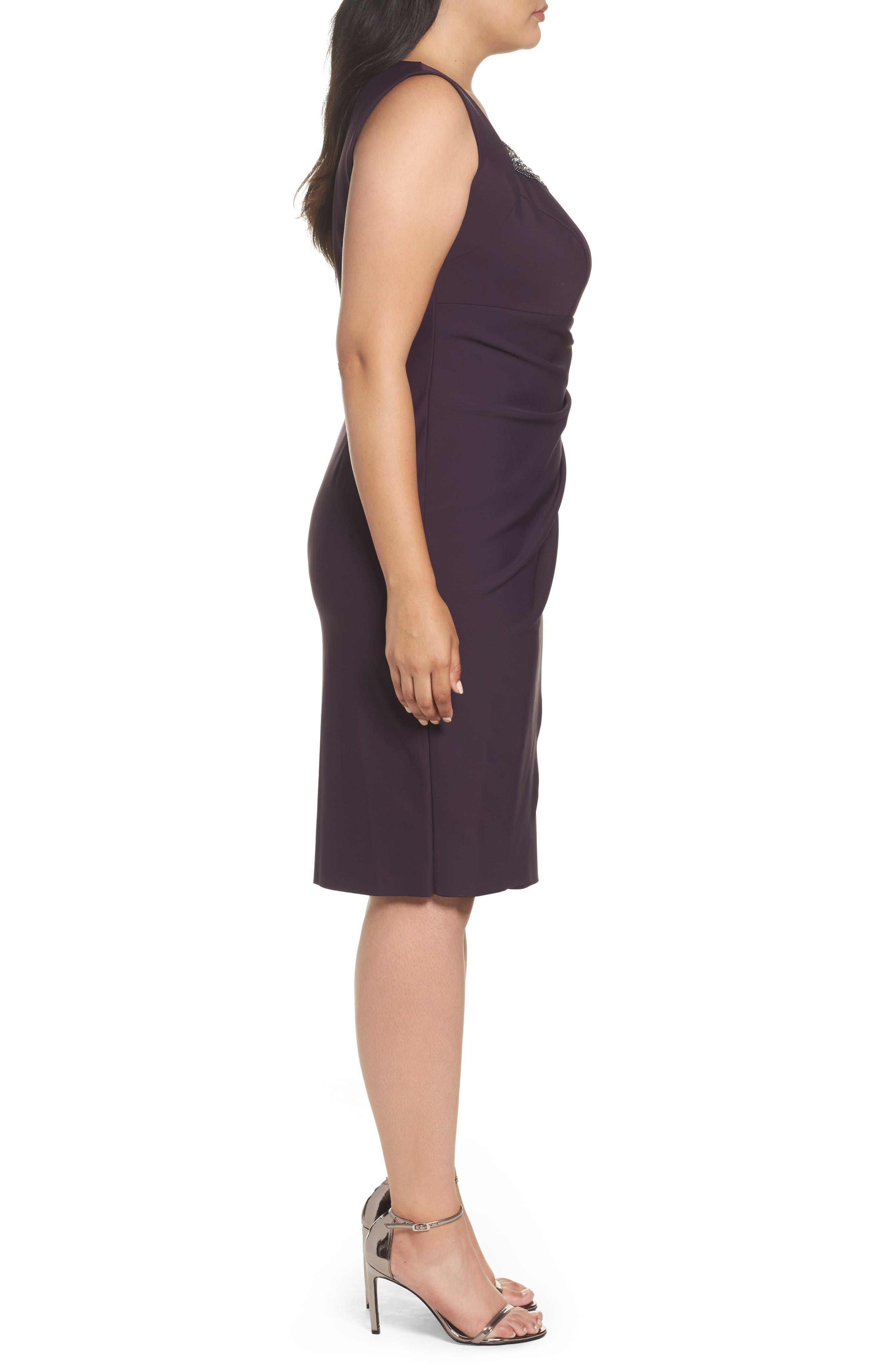 Alternate Image 3  - Alex Evenings Embellished Square Neck Sleeveless Sheath Dress (Plus Size)