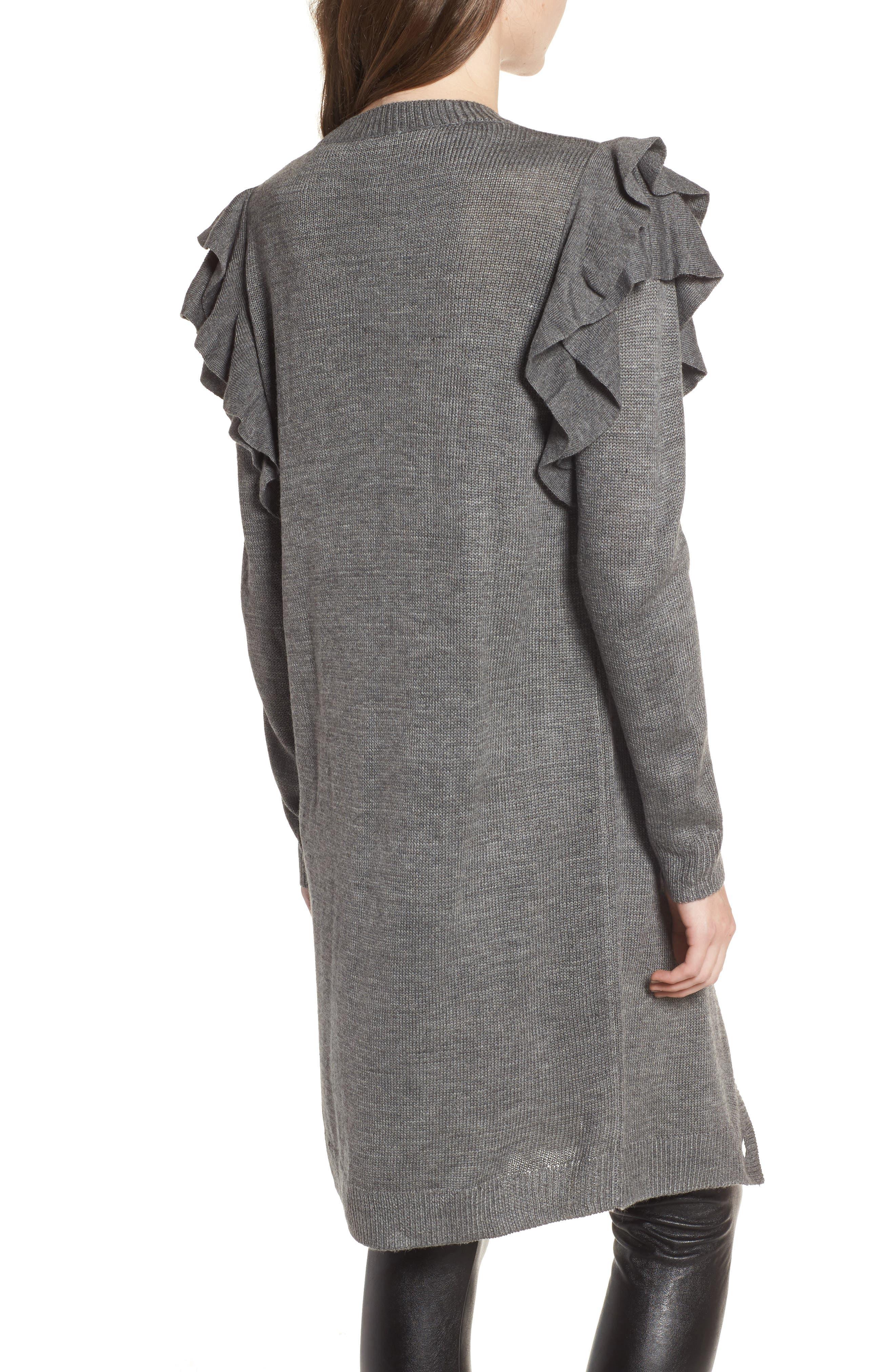 Ruffle Shoulder Cardigan,                             Alternate thumbnail 2, color,                             Grey