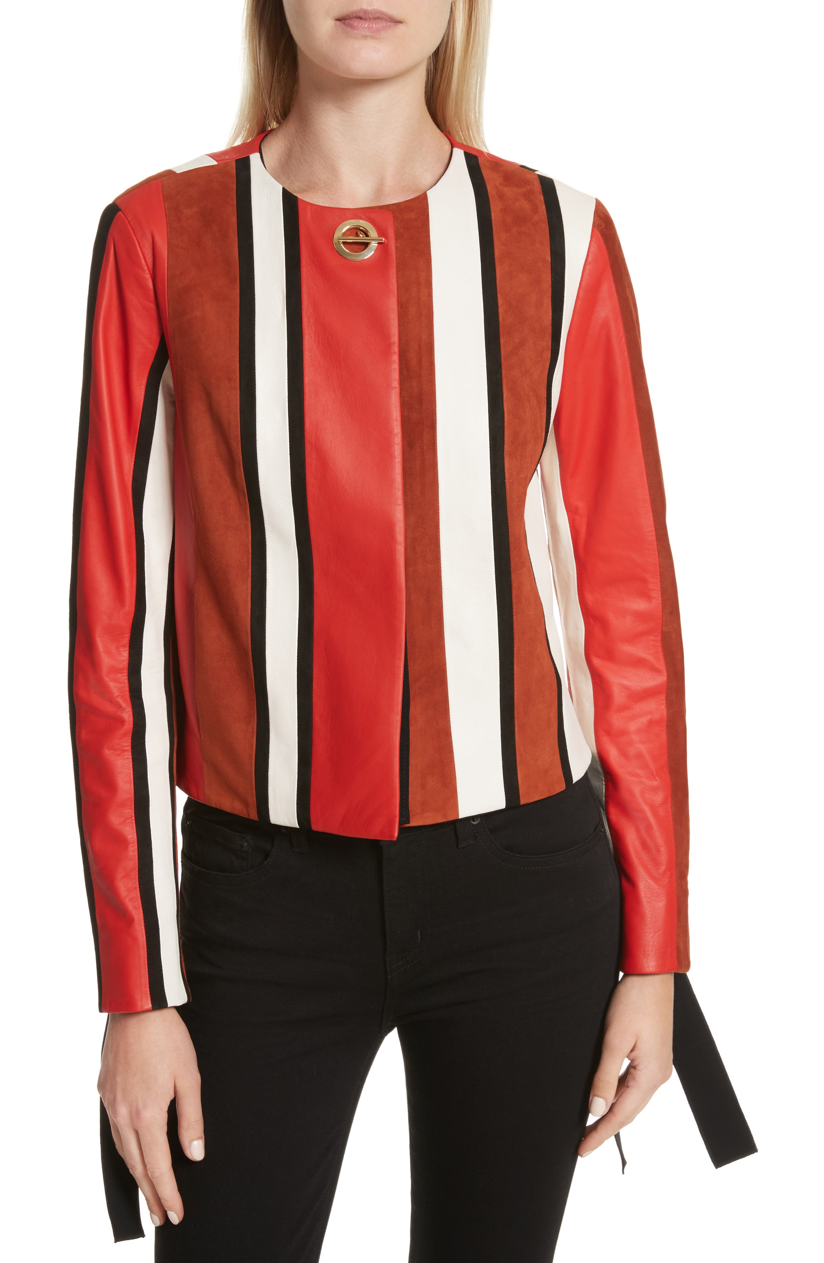 Stripe Collarless Leather Jacket,                         Main,                         color, Poppy