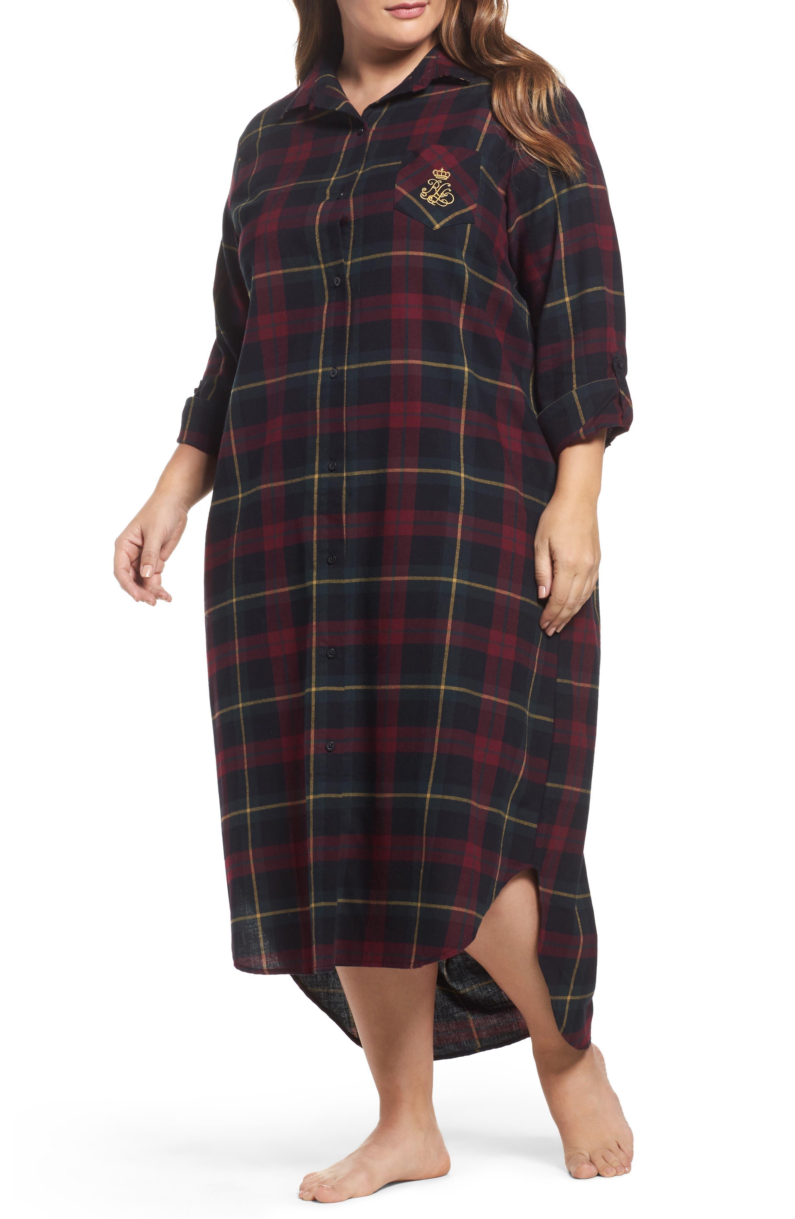 Lauren Ralph Lauren Plaid Flannel Sleep Shirt (Plus Size)