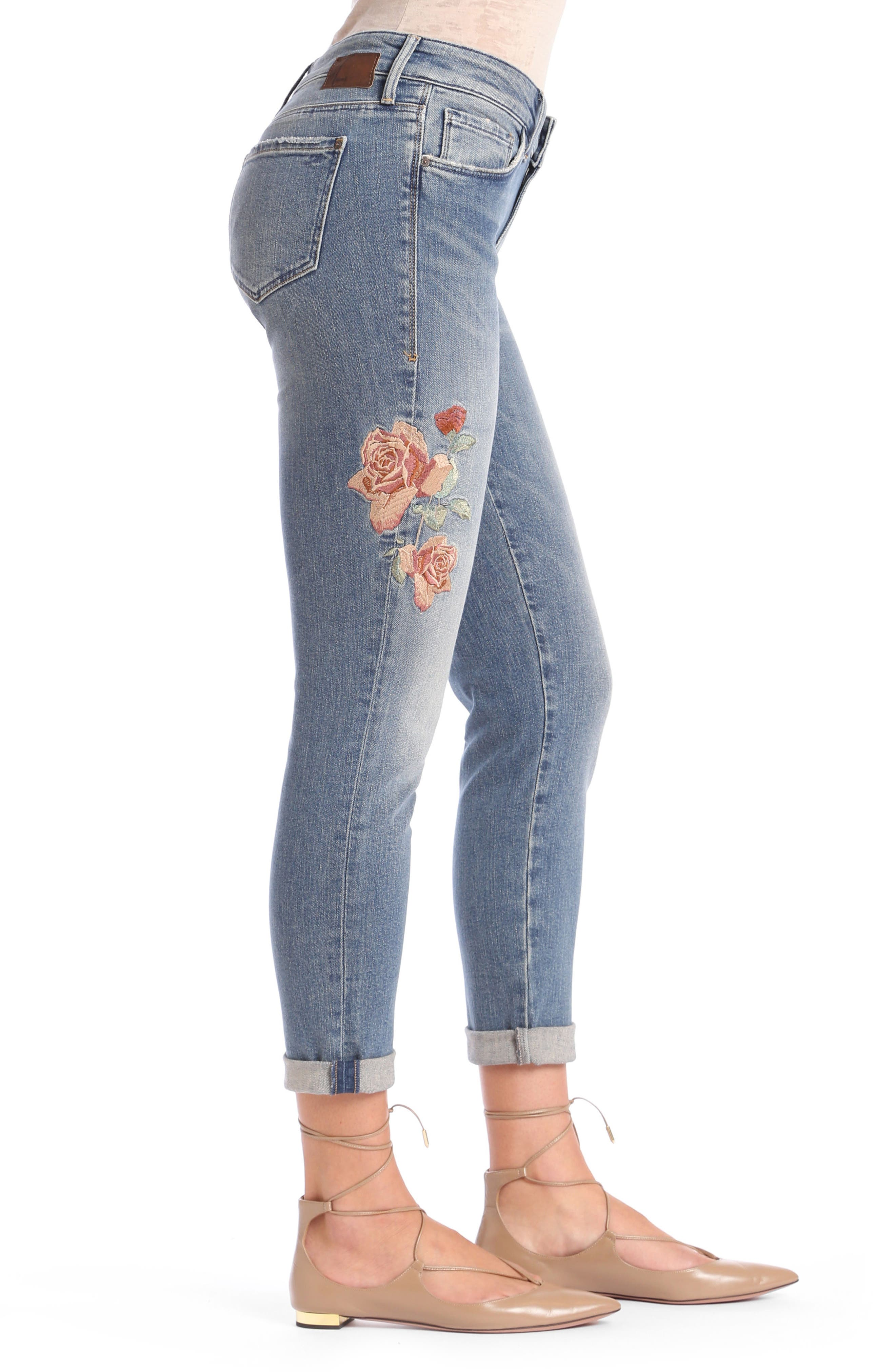 Ada Embroidered Boyfriend Jeans,                             Alternate thumbnail 3, color,                             Mid Rose Embroidery
