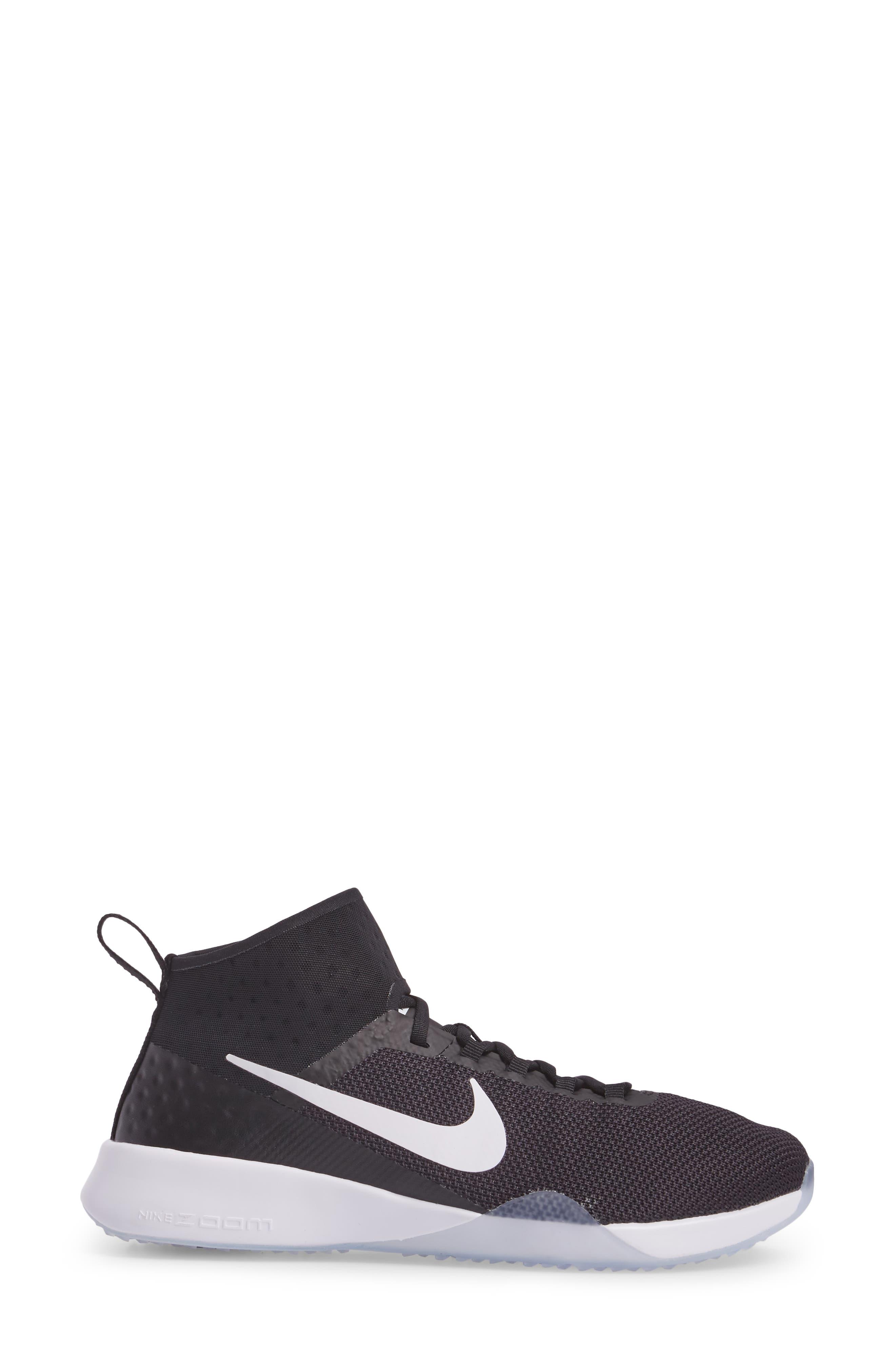 NikeLab Air Zoom Strong 2 Training Shoe,                             Alternate thumbnail 3, color,                             Black/ White