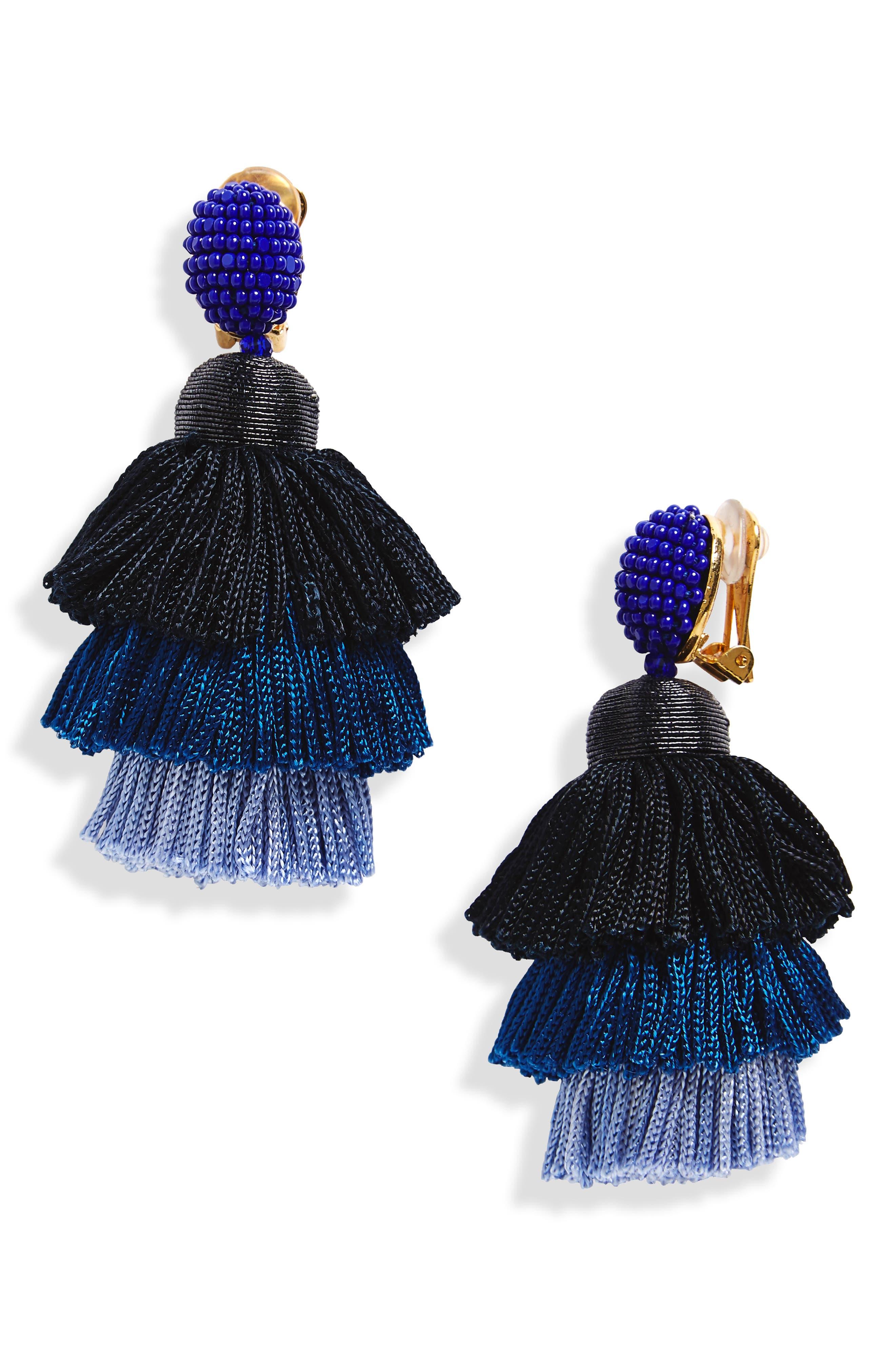Alternate Image 1 Selected - Oscar de la Renta Tiered Tassel Drop Earrings