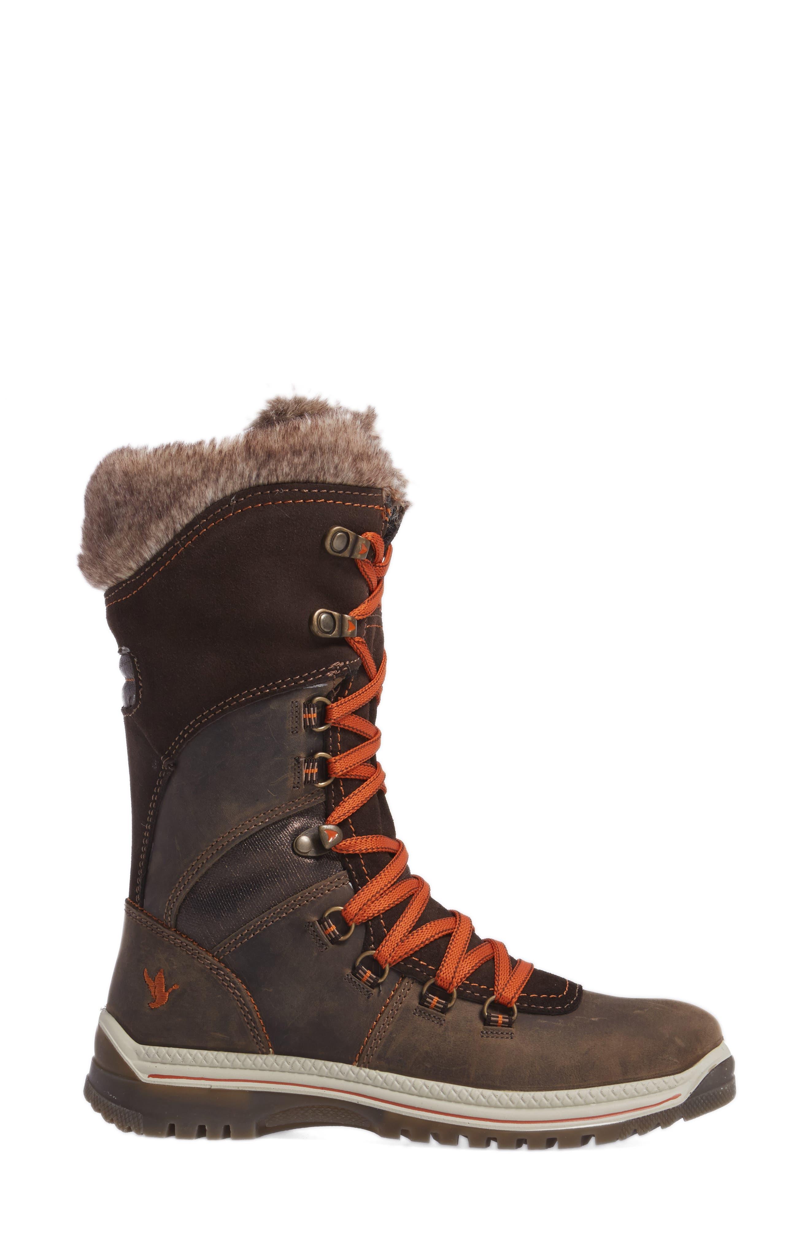 'Morella' Water Resistant Faux Fur Boot,                             Alternate thumbnail 3, color,                             Dark Brown Leather