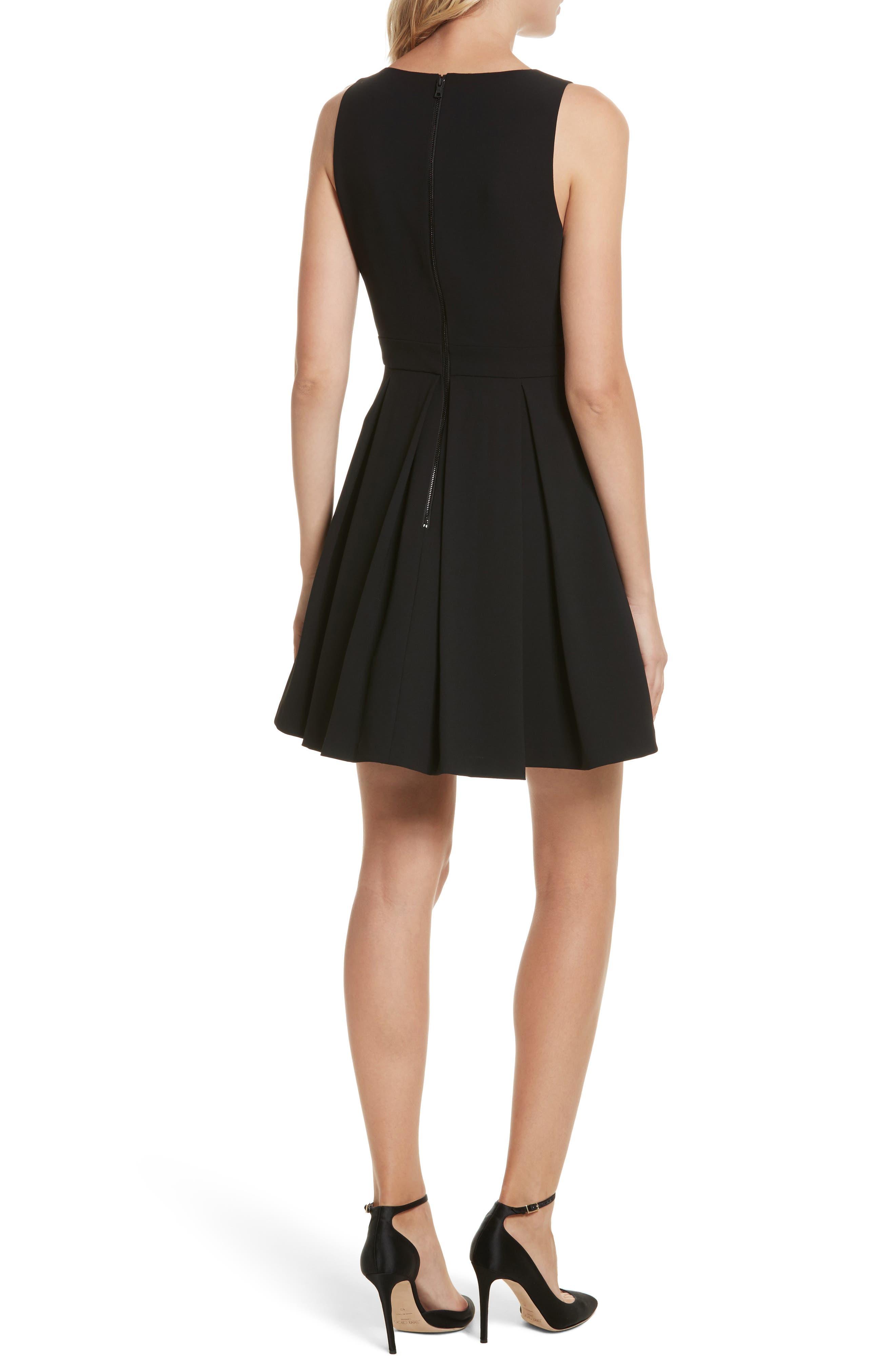 Julieta Inverted Pleat Fit & Flare Dress,                             Alternate thumbnail 2, color,                             Black